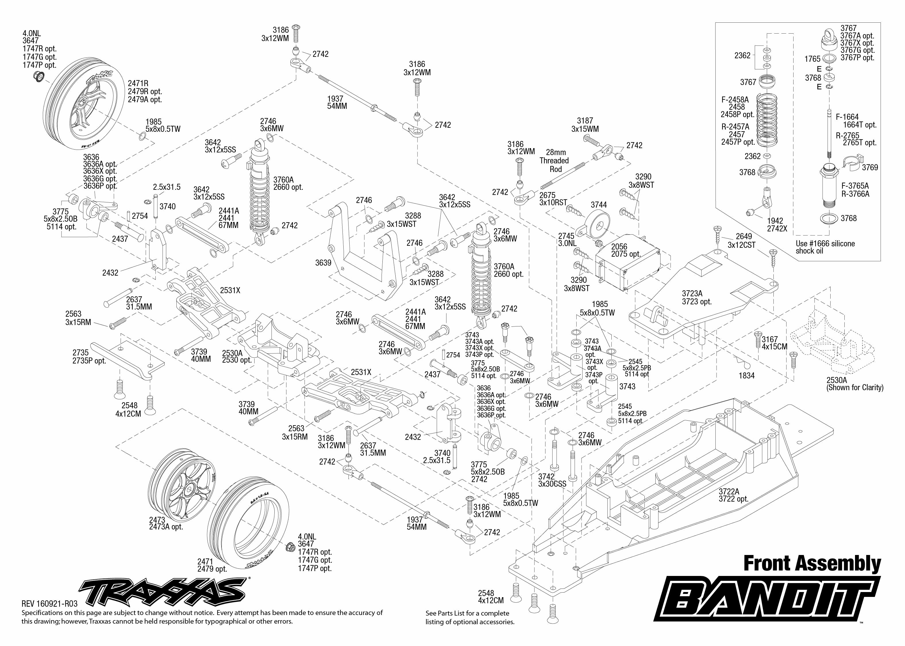 Exploded View Traxxas Bandit 1 10 Tq Rtr Front Part Astra