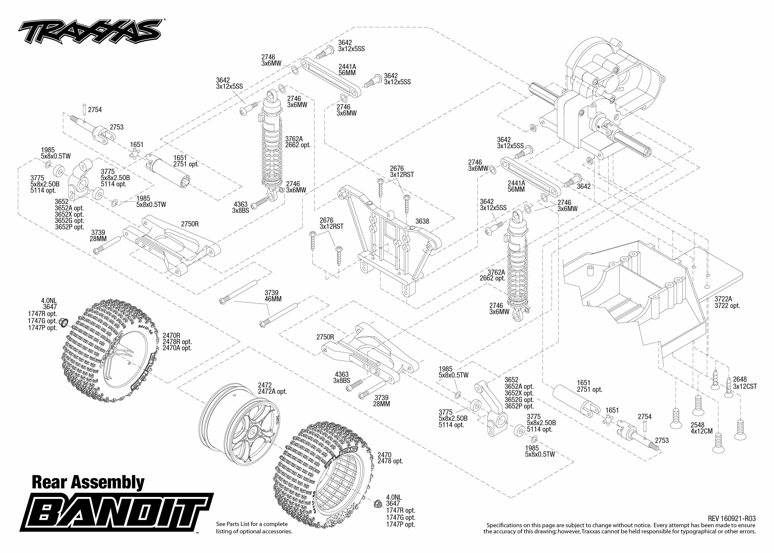 exploded view  traxxas bandit 1 10 tq rtr