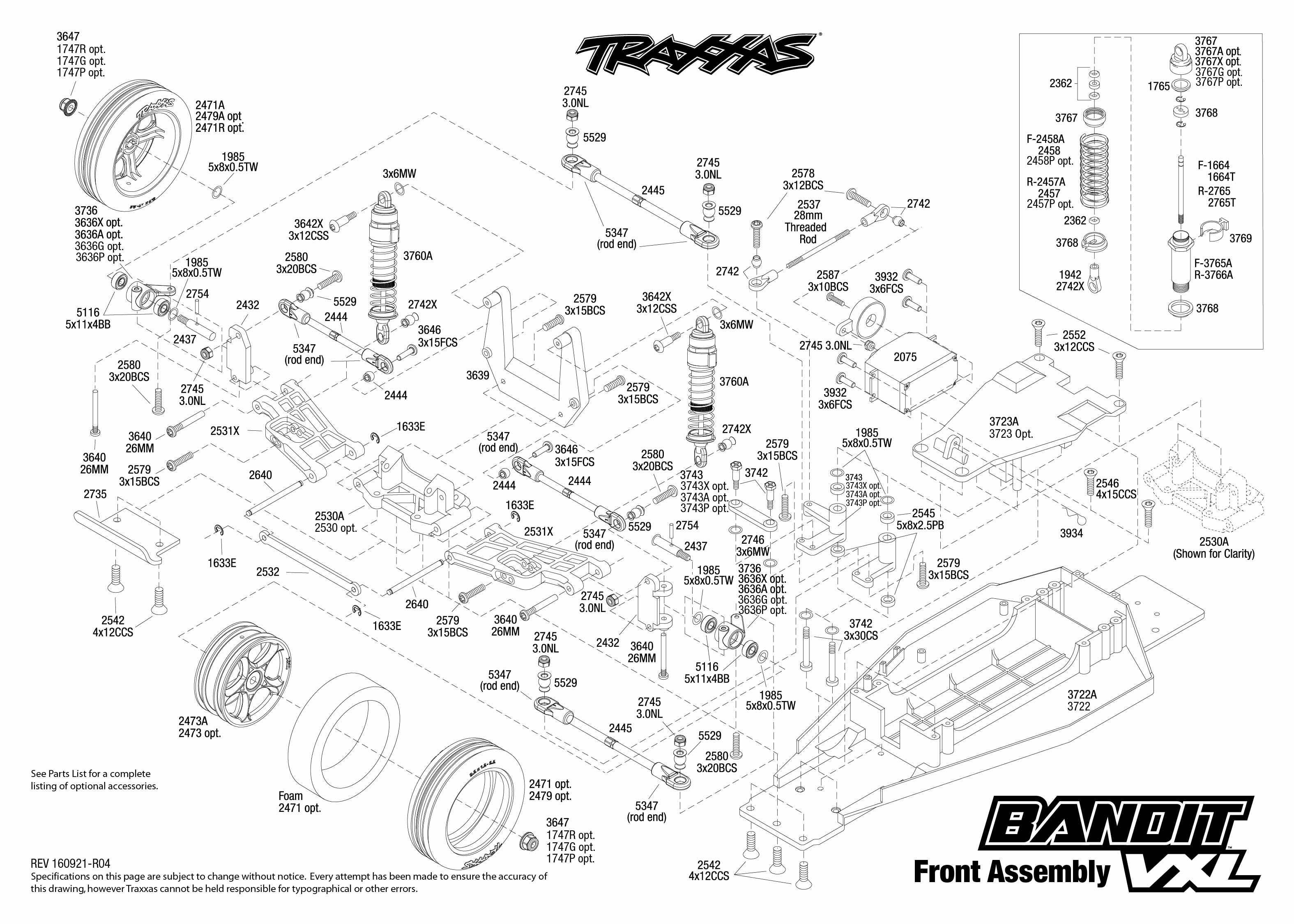 Exploded view: Traxxas Bandit 1:10 VXL TQi BlueTooth Ready