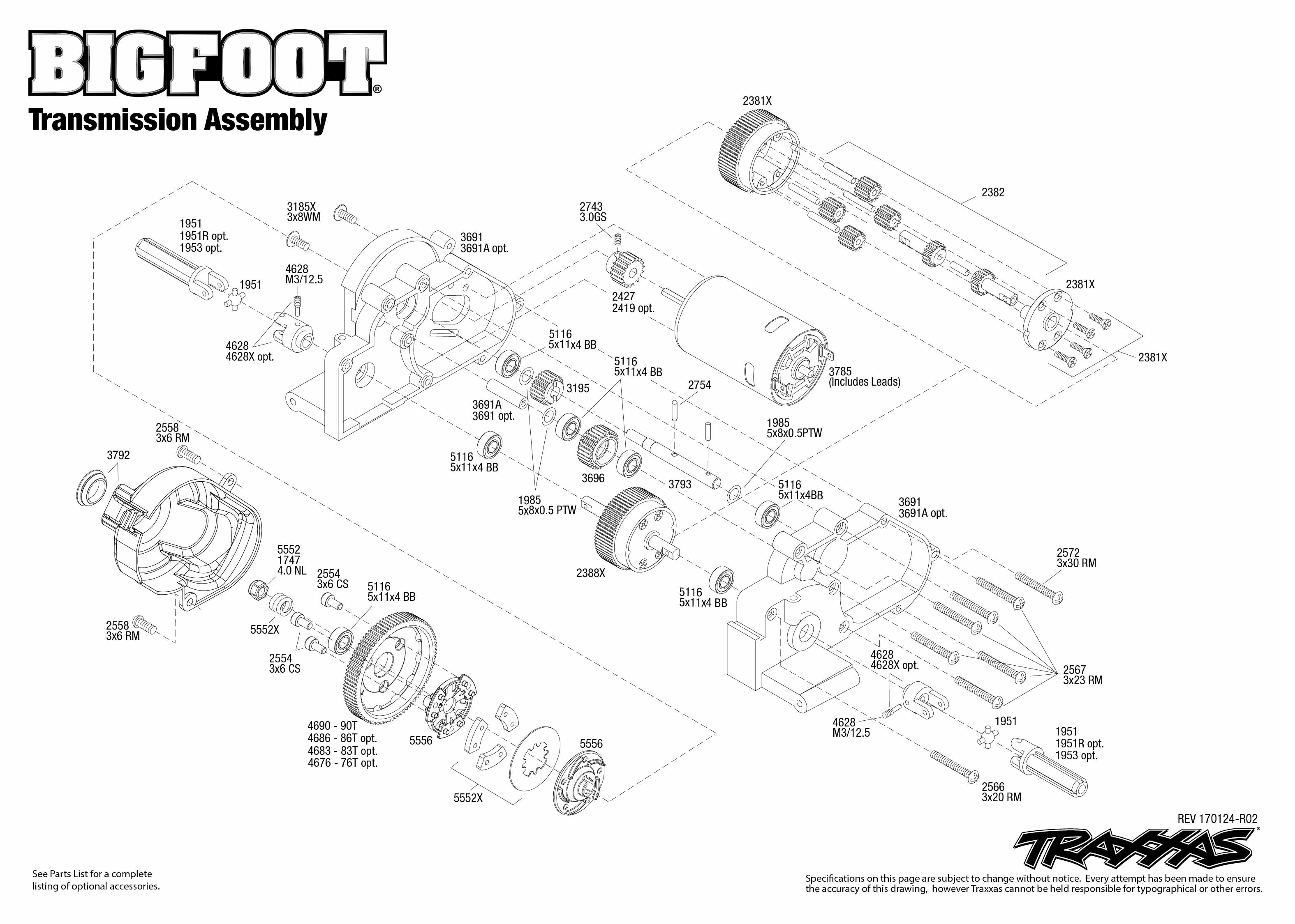 Exploded View Traxxas Big Foot 110 Classic Tq Rtr Transmission Revo Wiring Diagram