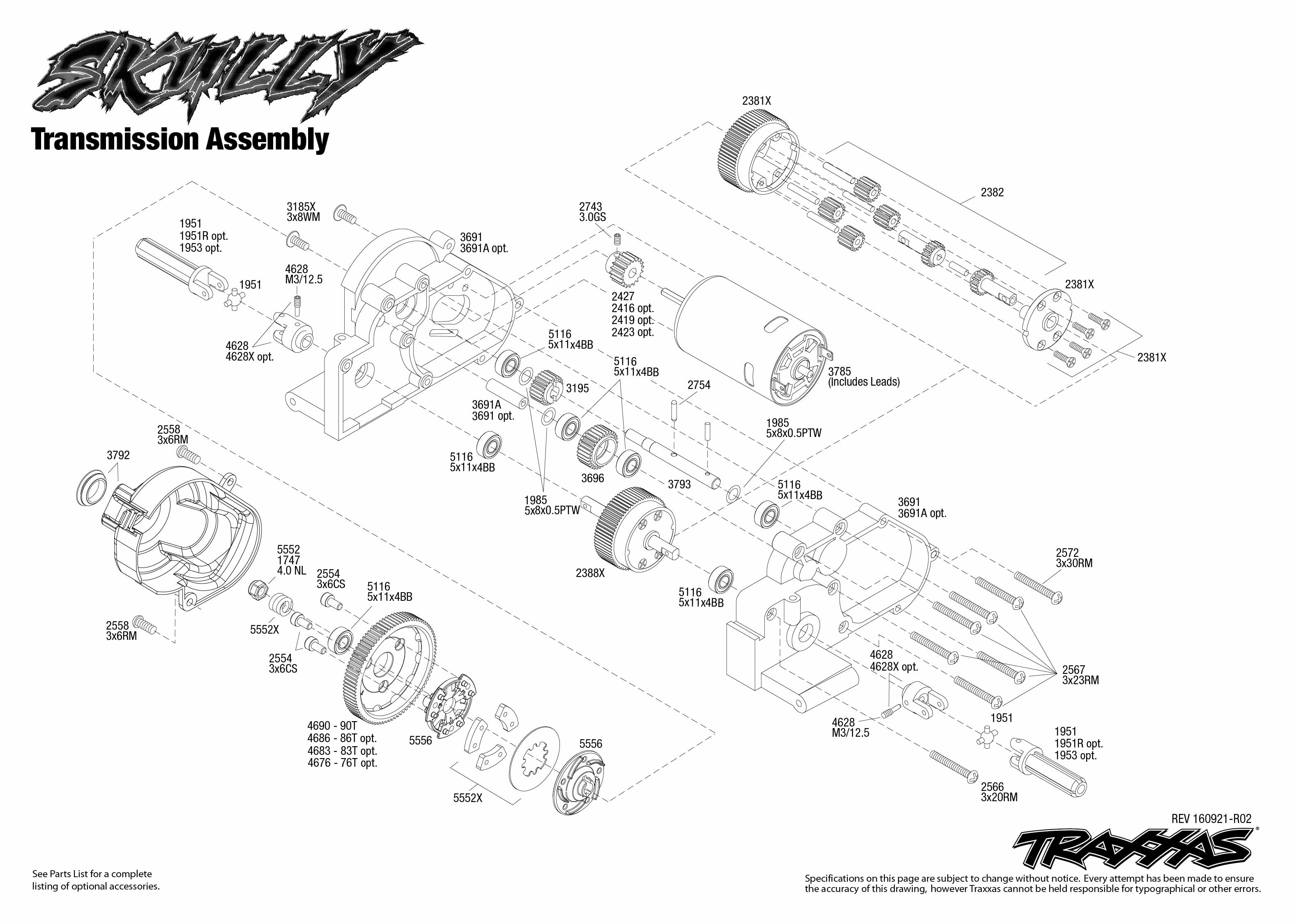 Exploded view: Traxxas Skully Monster Truck 1:10 TQ RTR