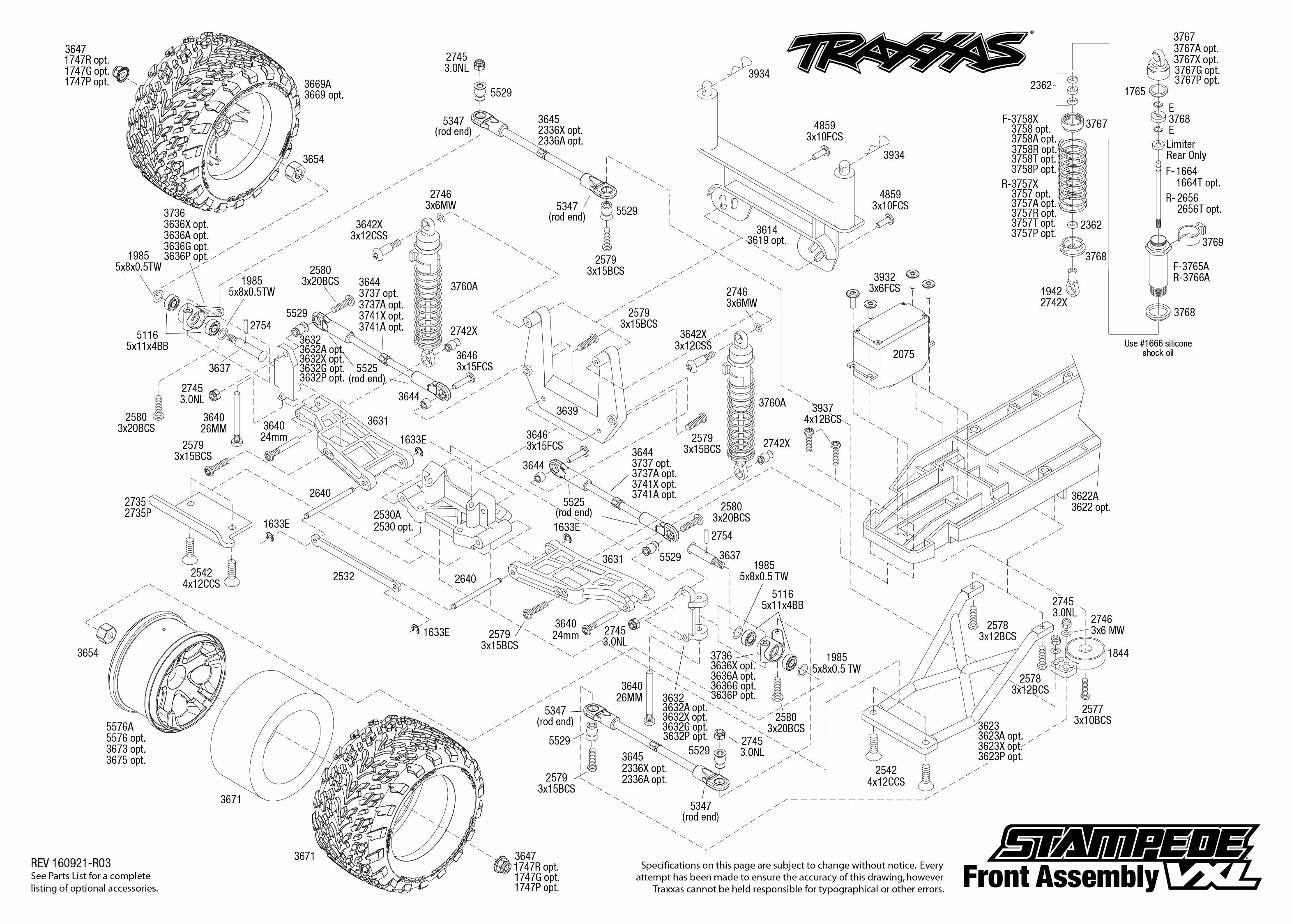 Exploded view: Traxxas Stampede 1:10 VXL TQi Bluetooth