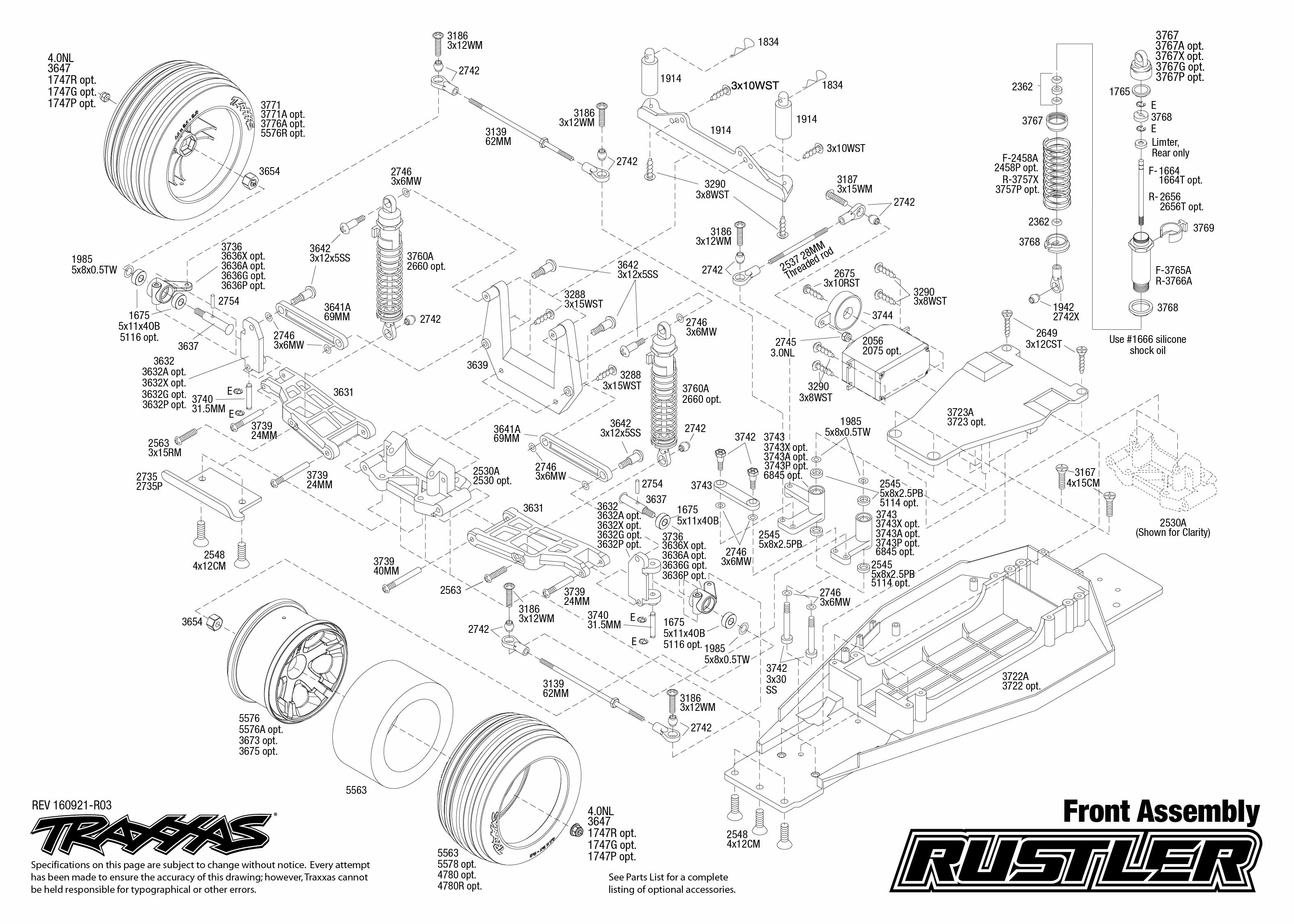 exploded view  traxxas rustler 1 10 tq rtr