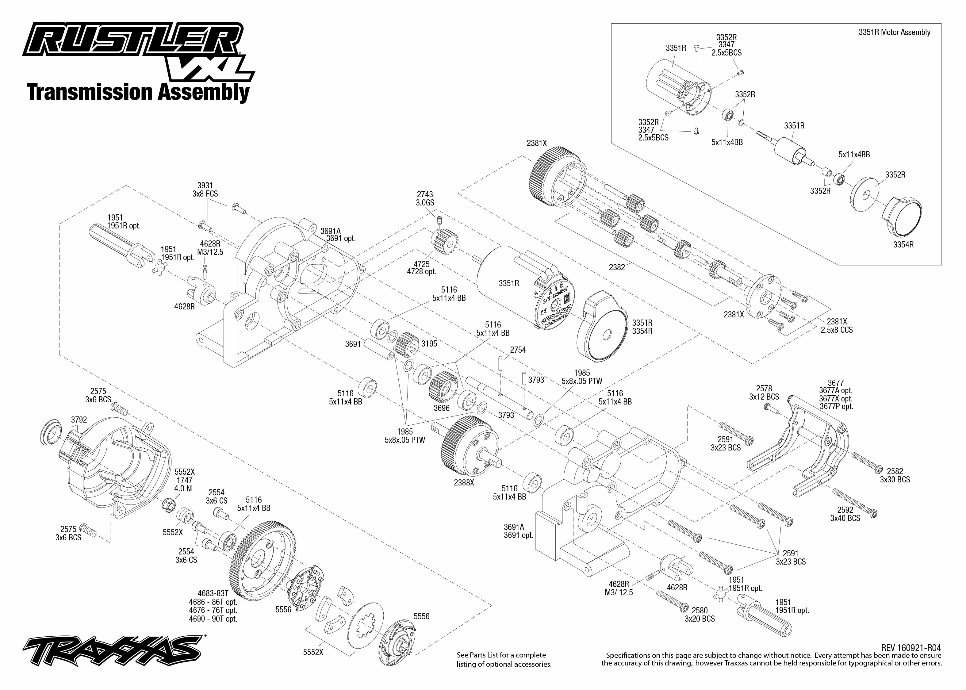 Exploded view: Traxxas Rustler 1:10 VXL TQi BlueTooth