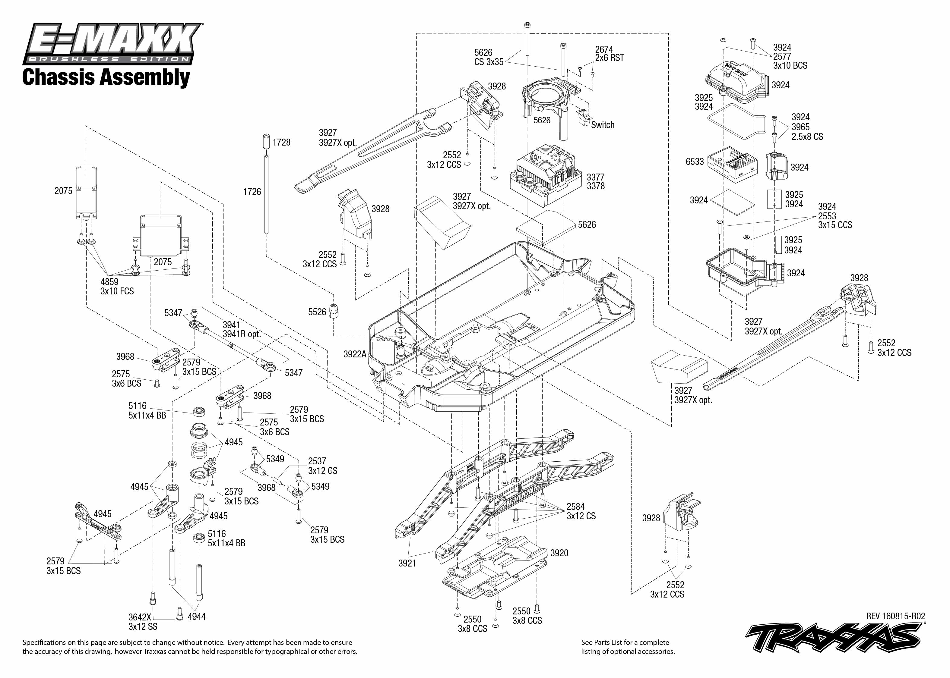 Exploded view: Traxxas E-Maxx 1:10 Brushless TQi TSM RTR