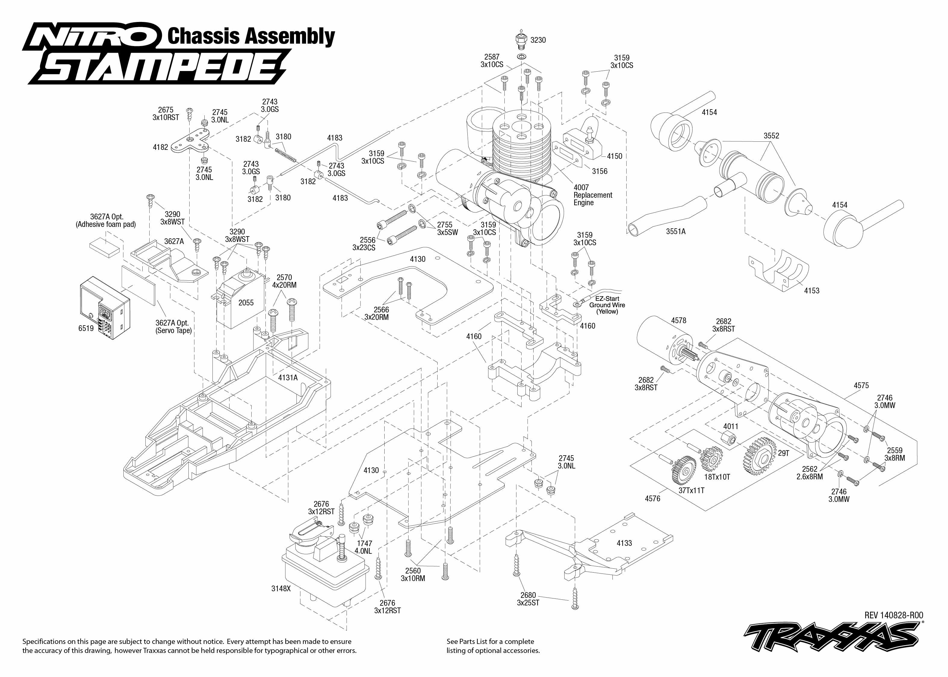 Exploded view: Traxxas Nitro Stampede 1:10 TQ RTR