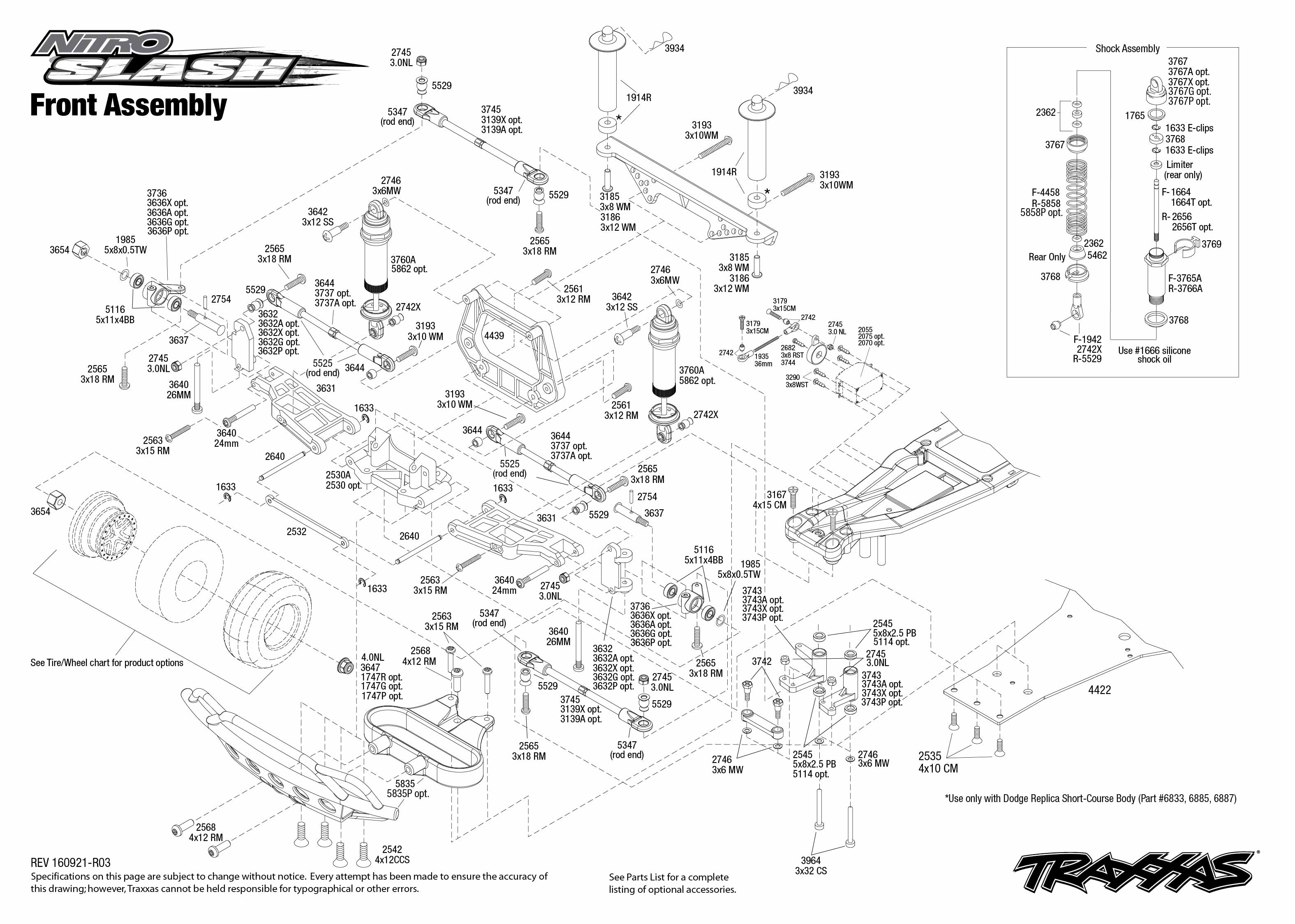 Exploded view: Traxxas Nitro Slash 1:10 TQi RTR TSM