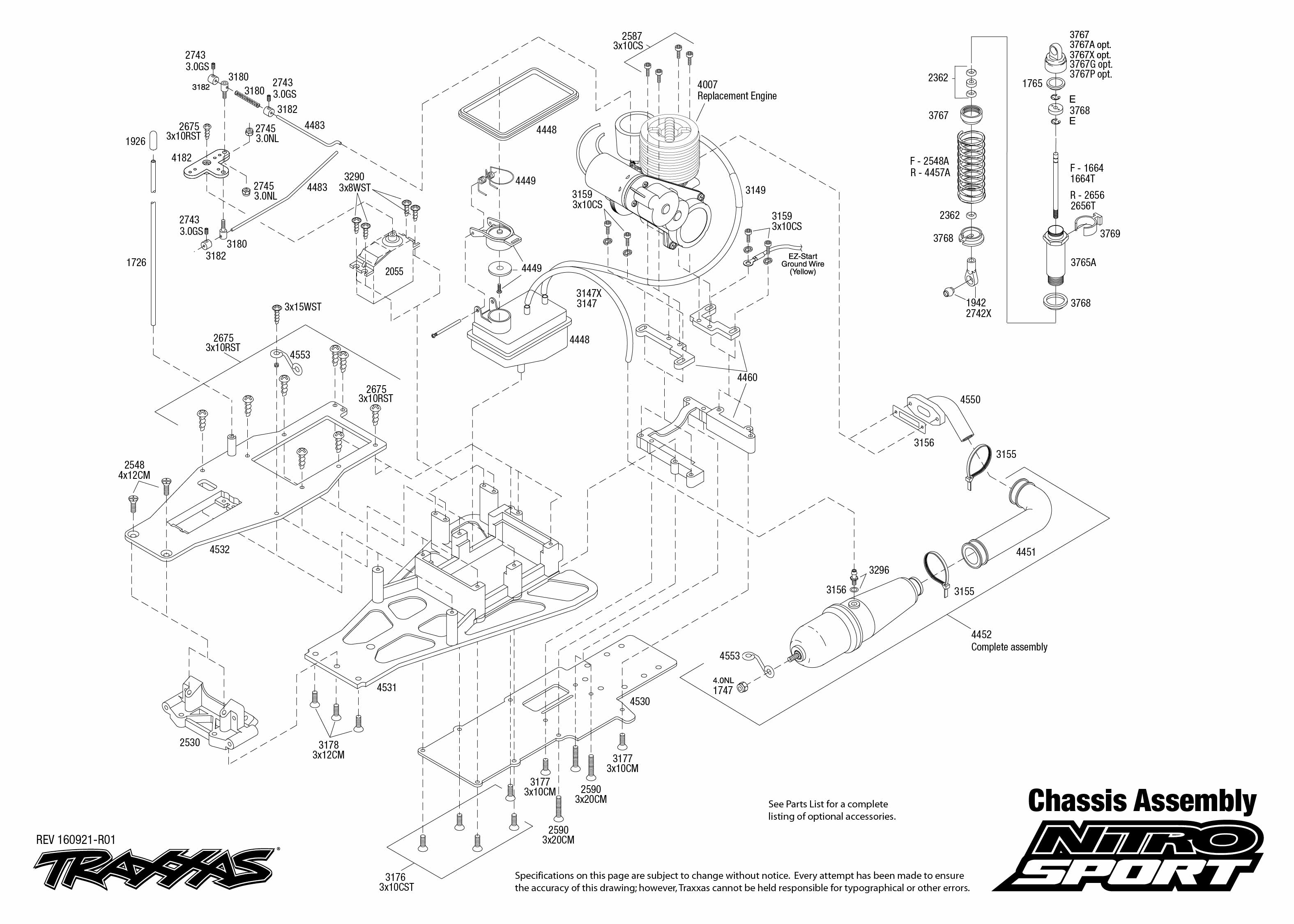 e43298a6767 Exploded view  Traxxas Nitro Sport 1 10 TQ RTR - Chassis