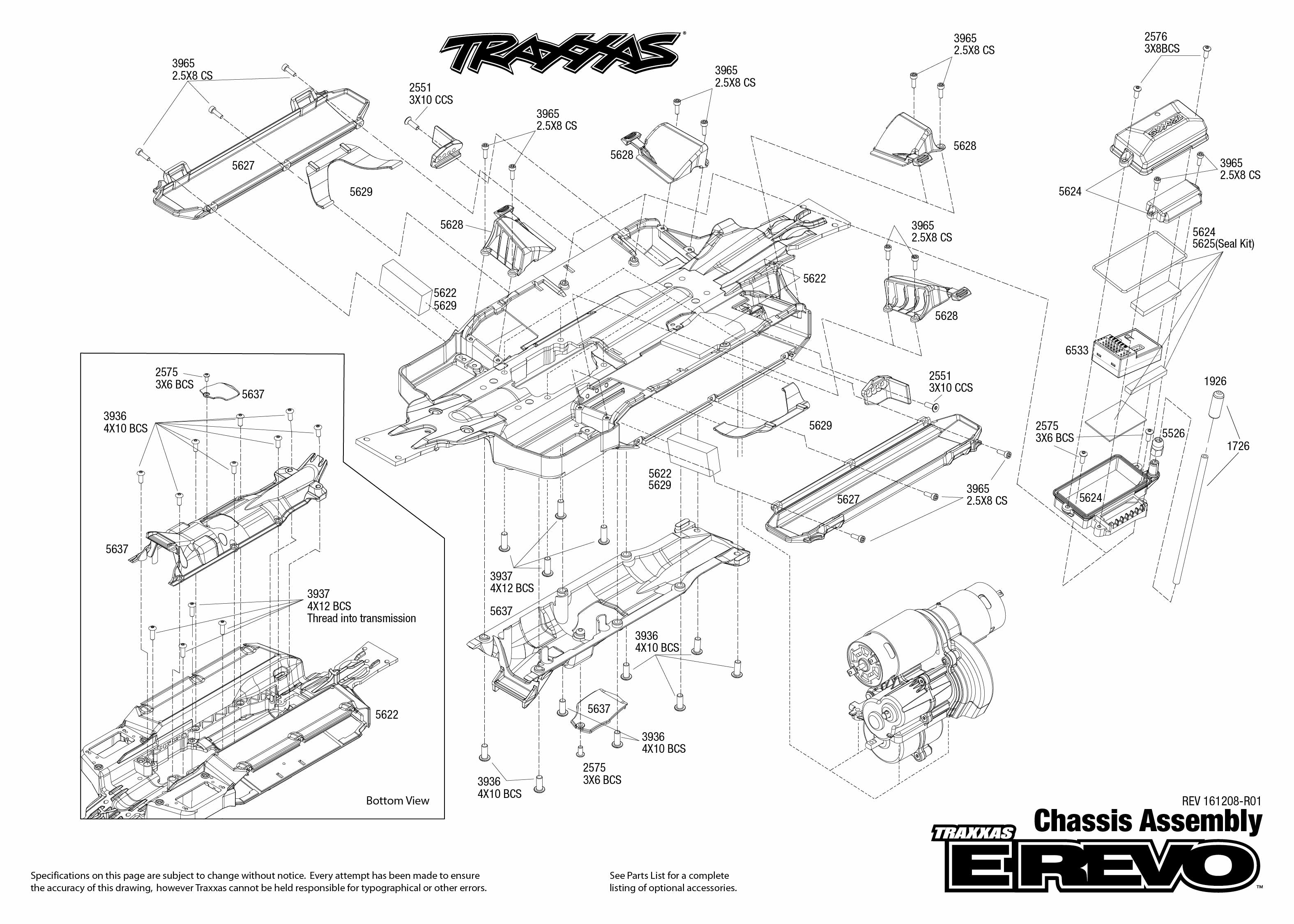 Exploded view: Traxxas E-Revo 1:10 TQi BlueTooth Ready TSM