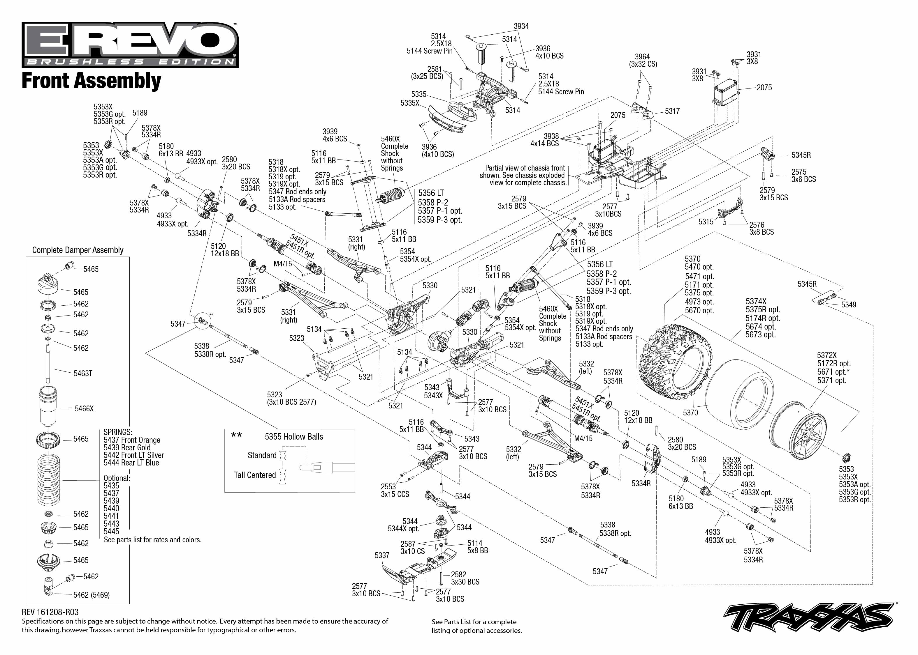 Exploded view: Traxxas E-Revo 1:10 Brushless TQi TSM RTR
