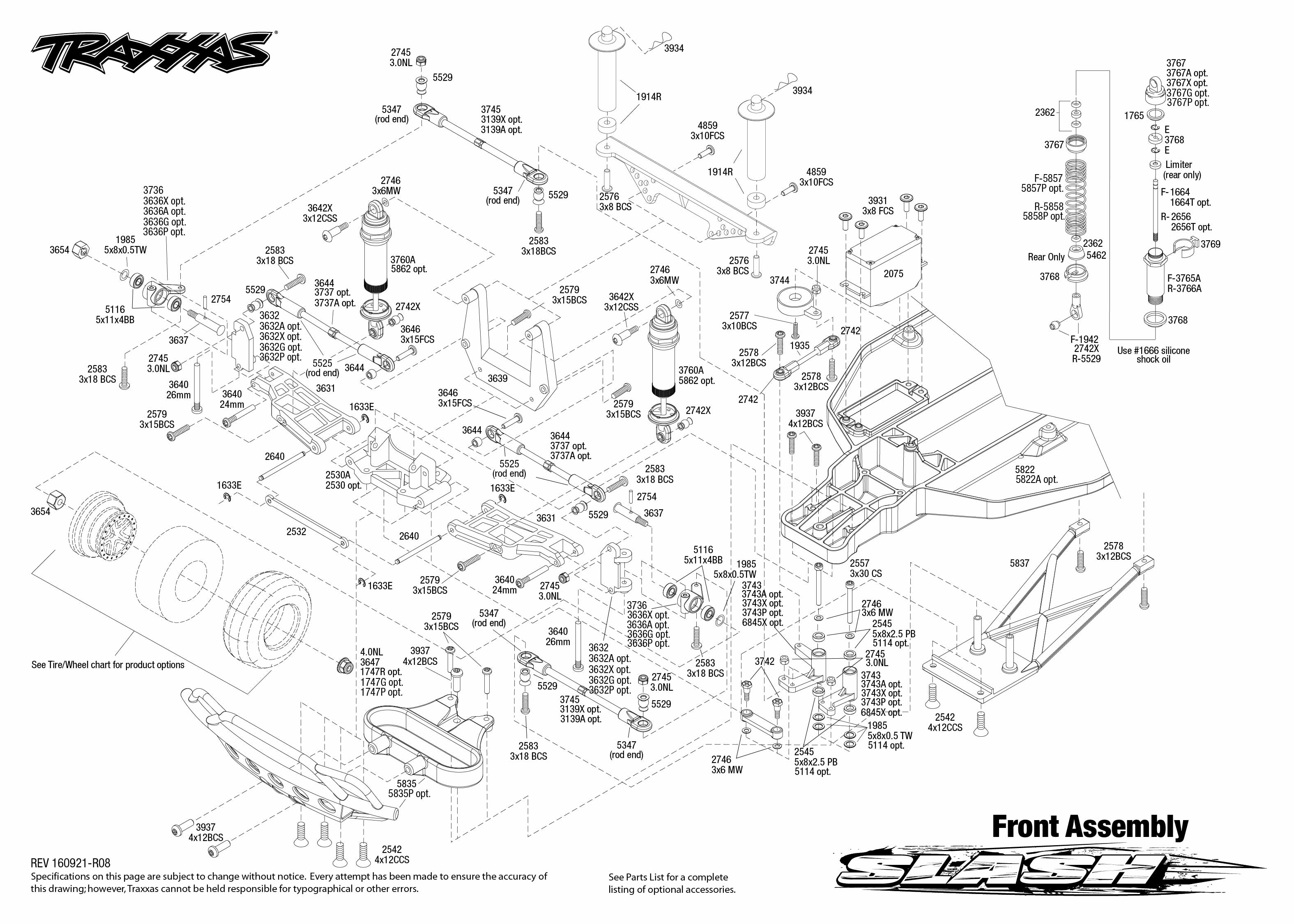 Exploded View Traxxas Slash 110 Tq Rtr Front Part Astra Infiniti Transmission Diagrams