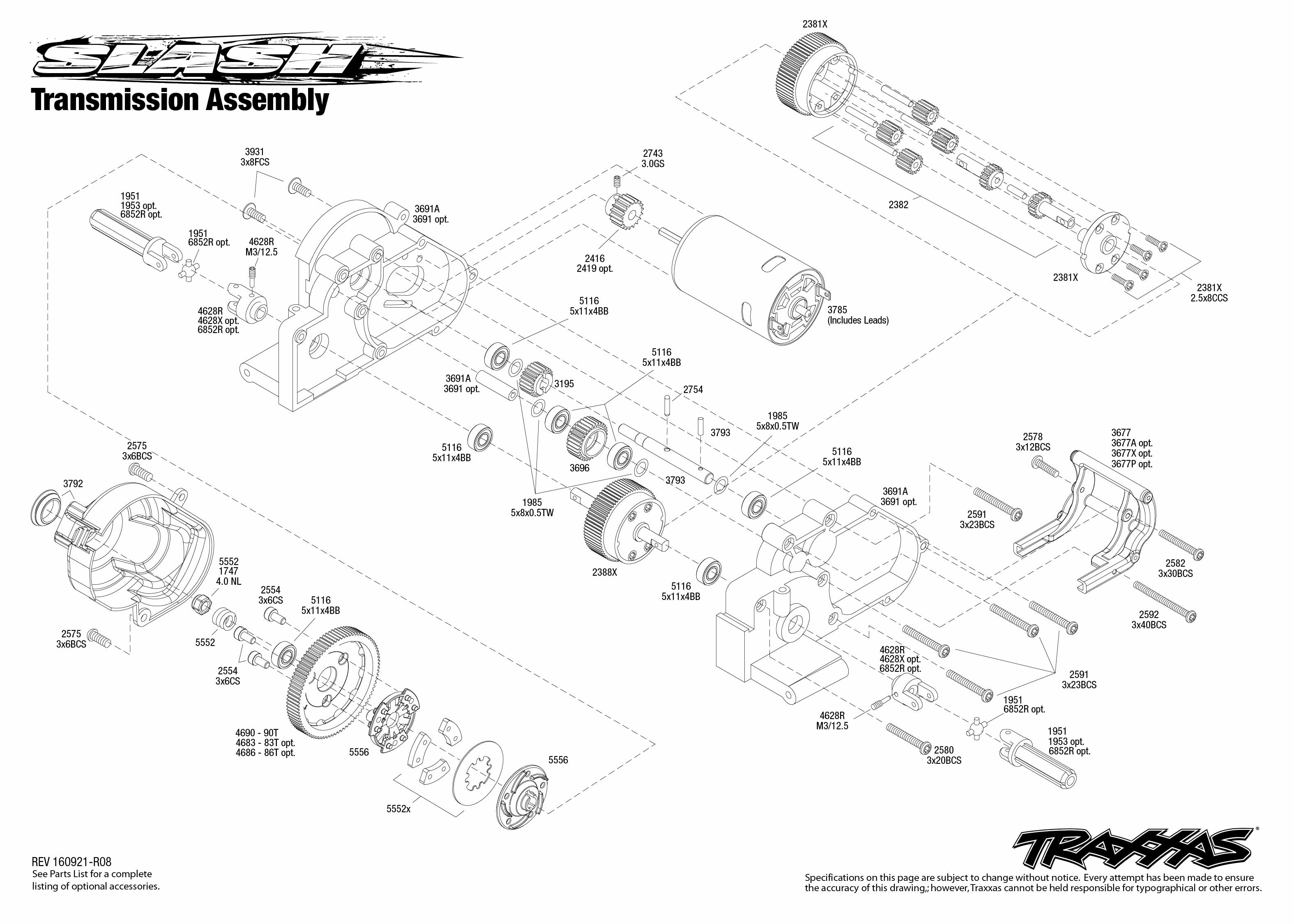 Exploded view: Traxxas Slash 1:10 TQ RTR - Transmission