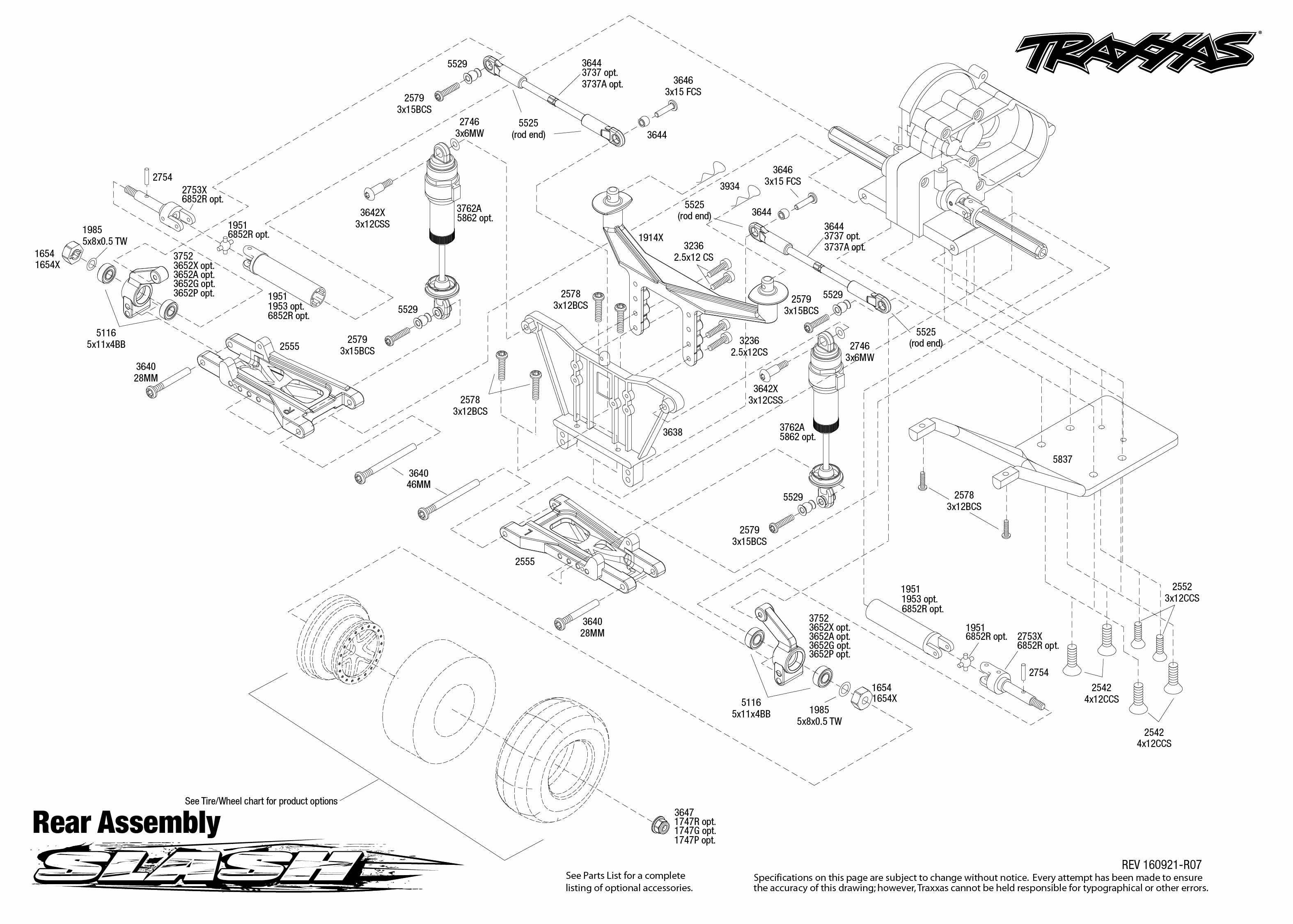 Exploded view: Traxxas Slash 1:10 TQ RTR onboard audio