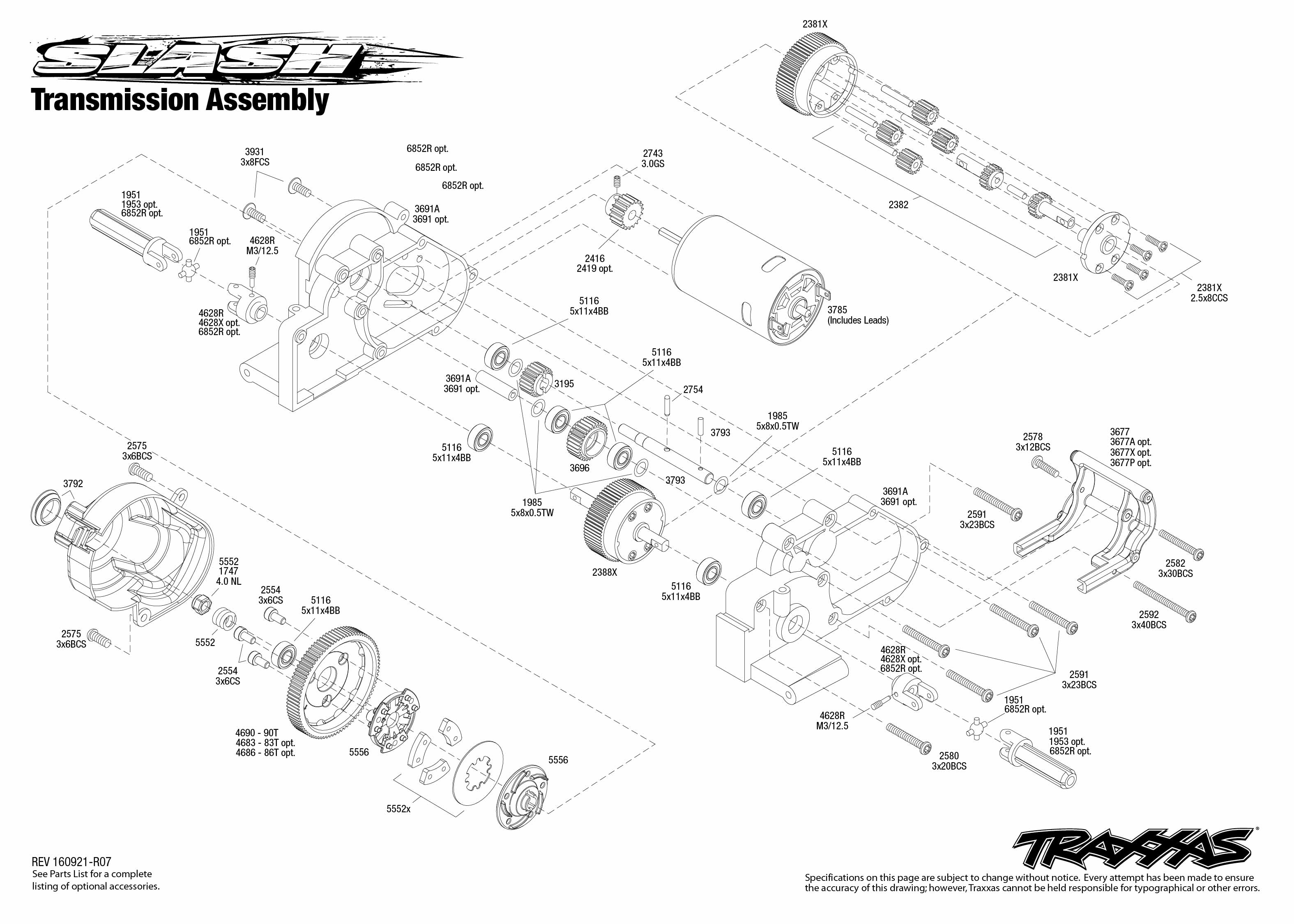 exploded view  traxxas slash 1 10 tq rtr onboard audio