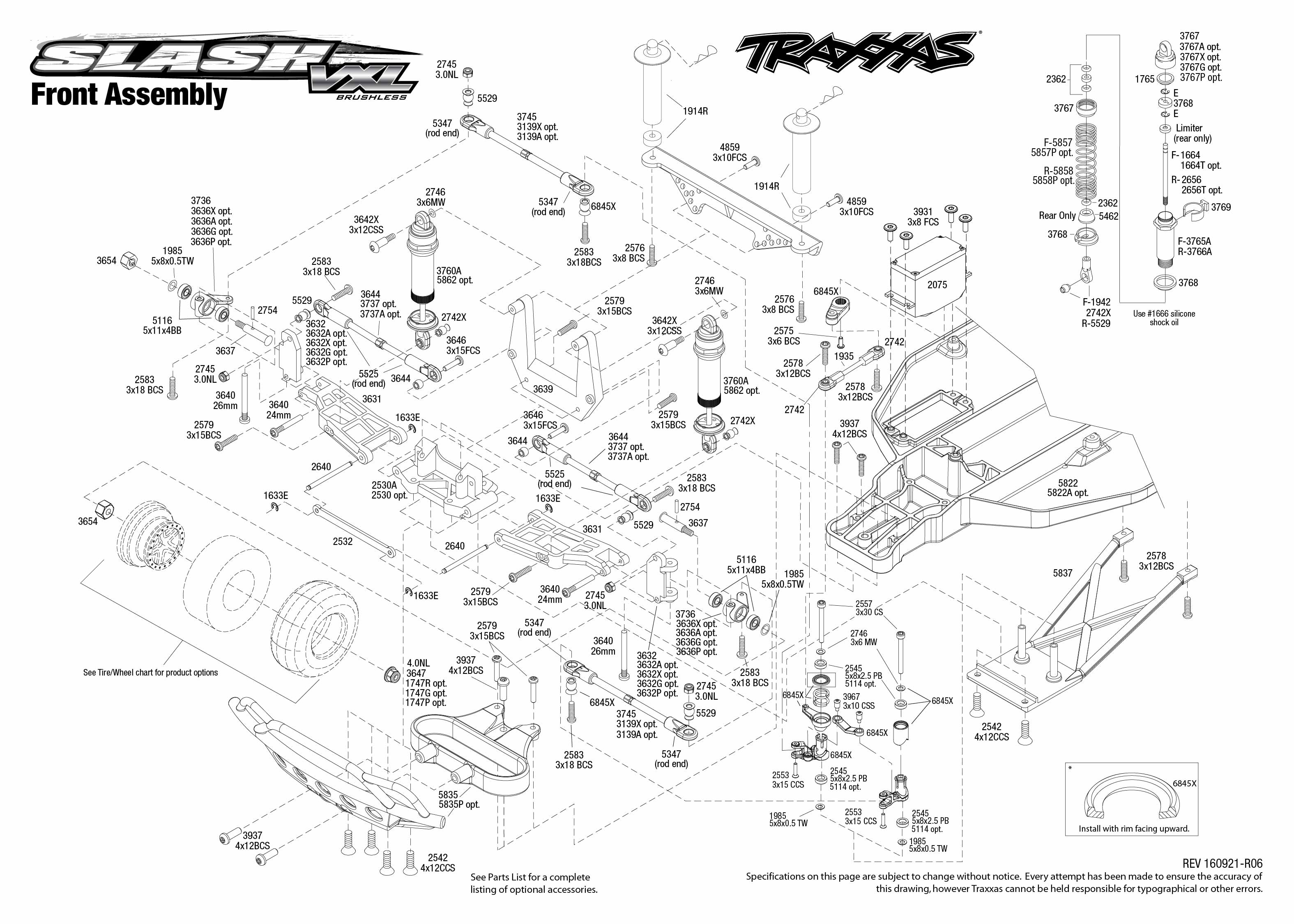 Exploded view: Traxxas Slash 1:10 VXL Brushless TQi LCG