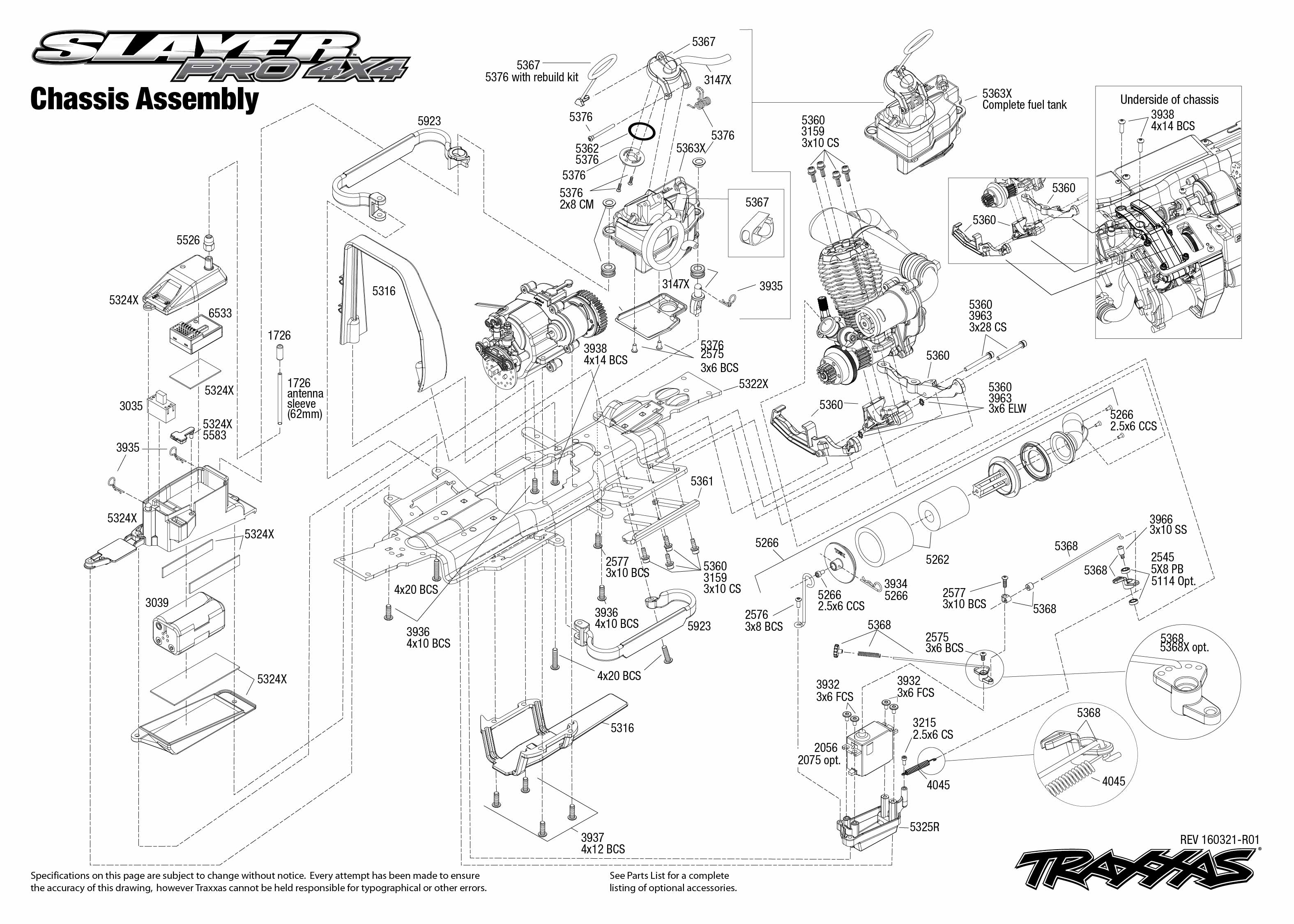 Exploded view: Traxxas Nitro Slayer 1:10 TQi Bluetooth