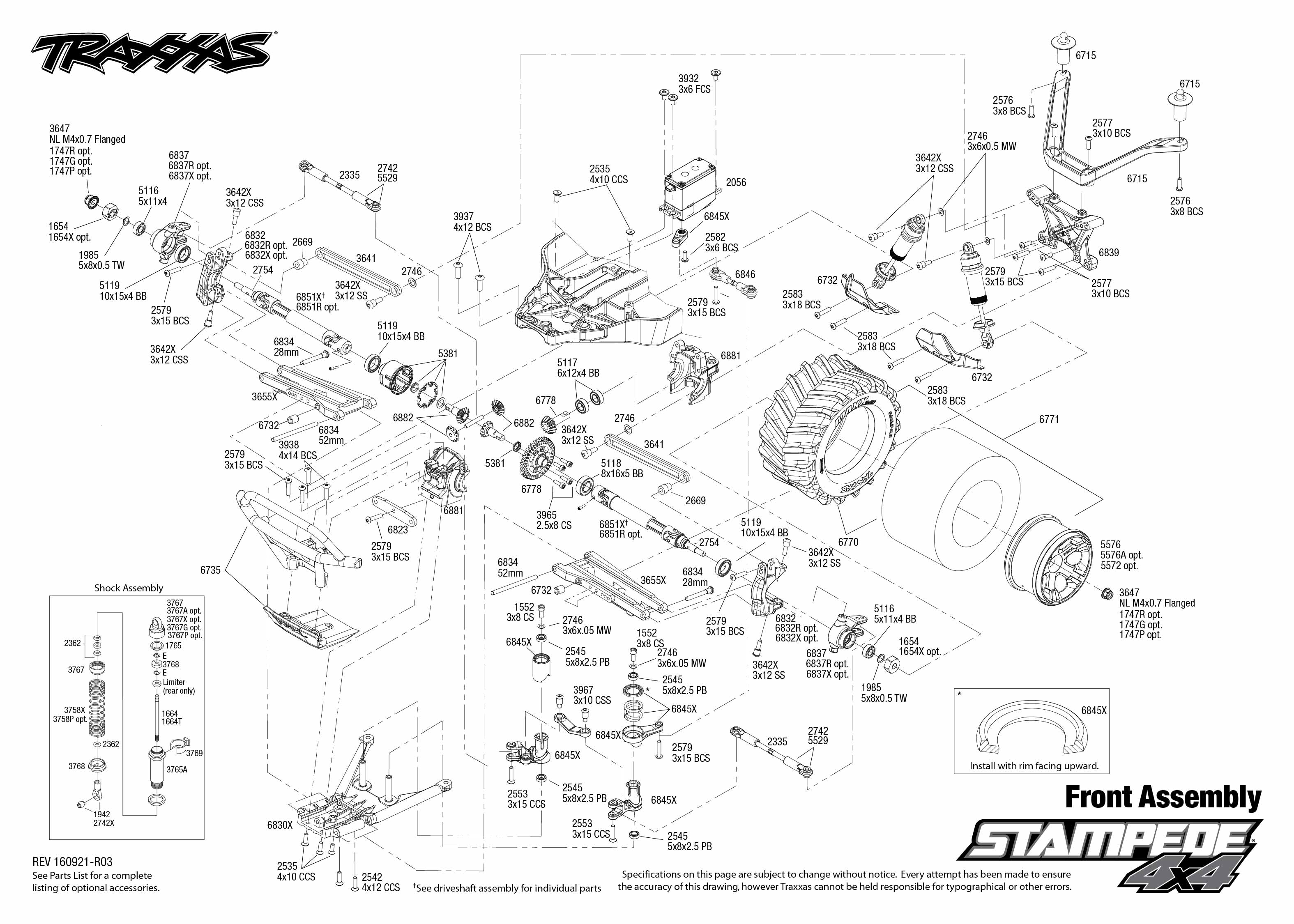 Exploded view: Traxxas Stampede 1:10 4WD TQ RTR - Front part