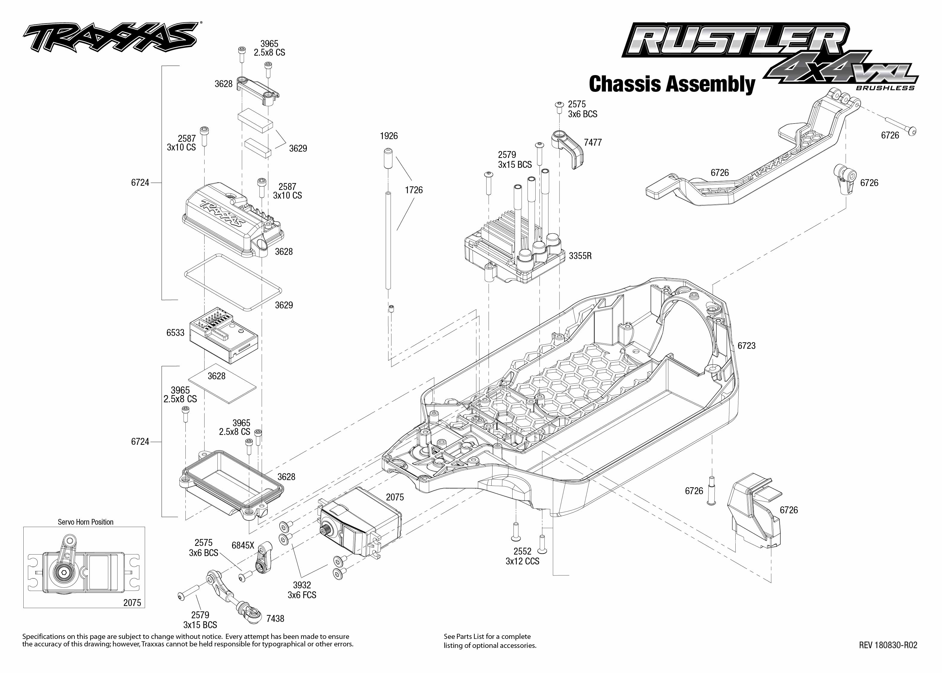 Exploded view: Traxxas Rustler 1:10 VXL 4WD TQi RTR bez