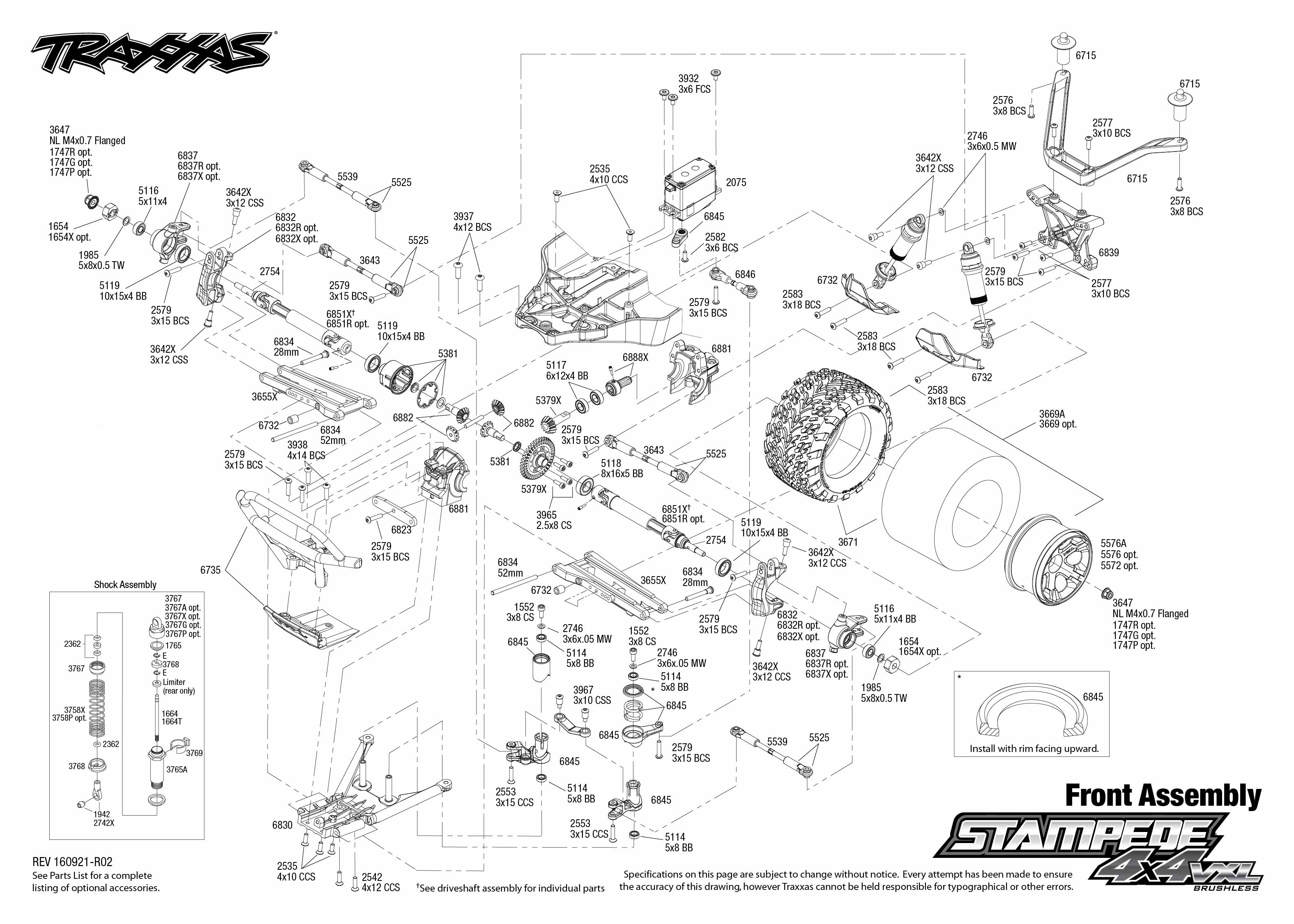 Exploded view: Traxxas Stampede 1:10 VXL 4WD TQi TSM RTR