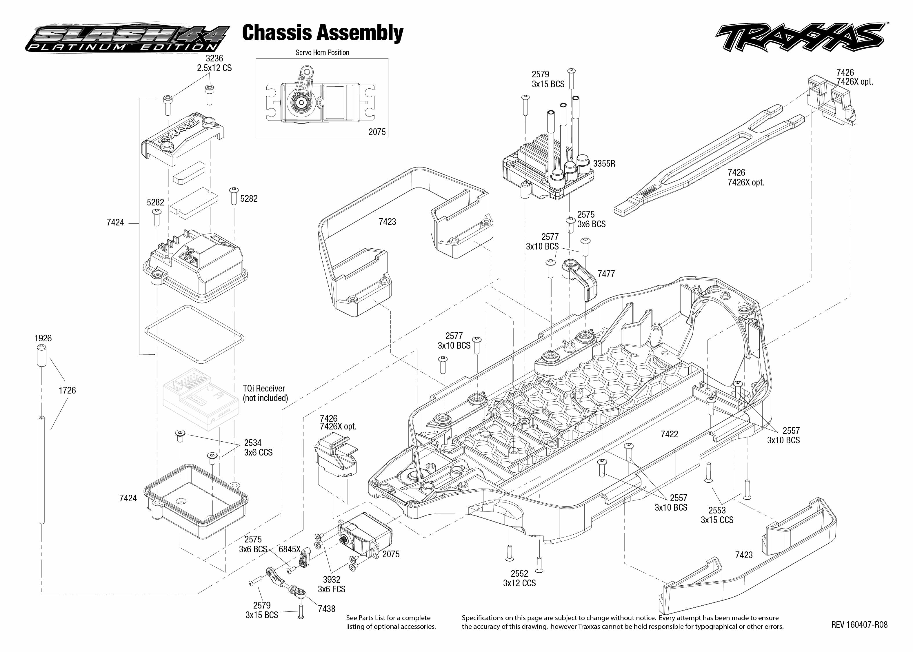 Exploded view: Traxxas Slash Platinum 1:10 4WD VXL LCG PND