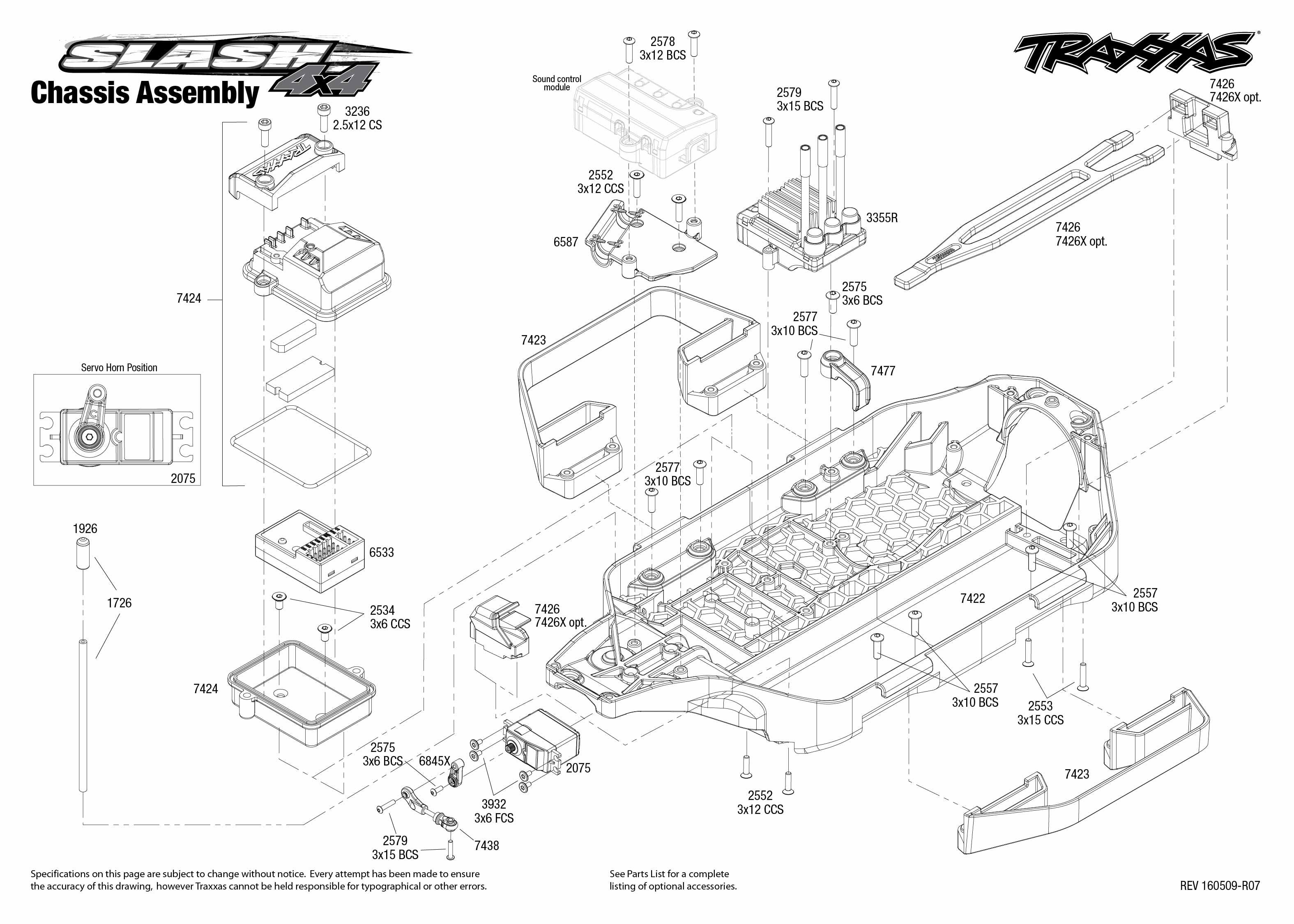 Exploded view: Traxxas Slash 1:10 4WD VXL TQi BlueTooth