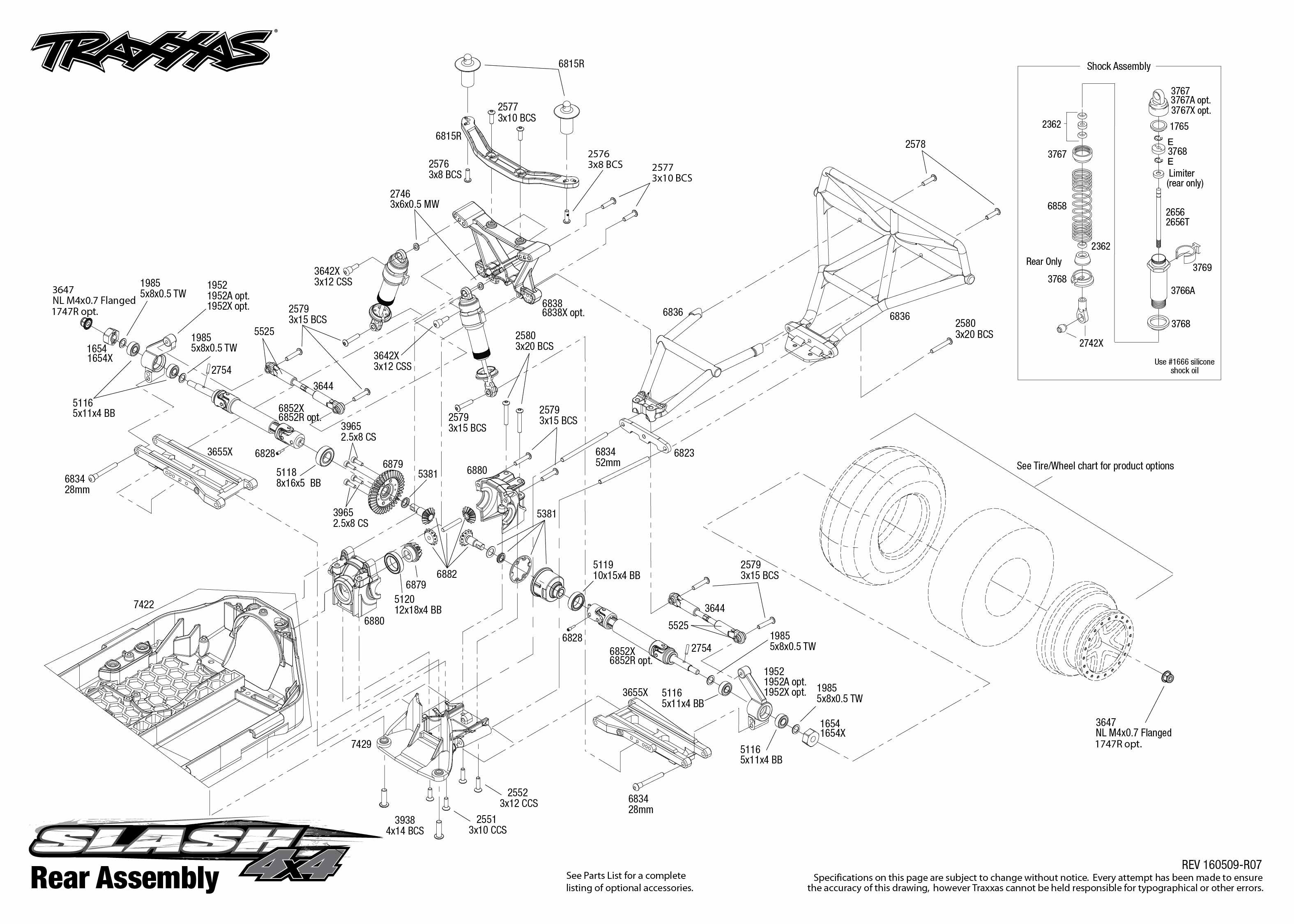 Exploded view: Traxxas Slash 1:10 4WD VXL TQi BlueTooth Ready OBA - Rear  part