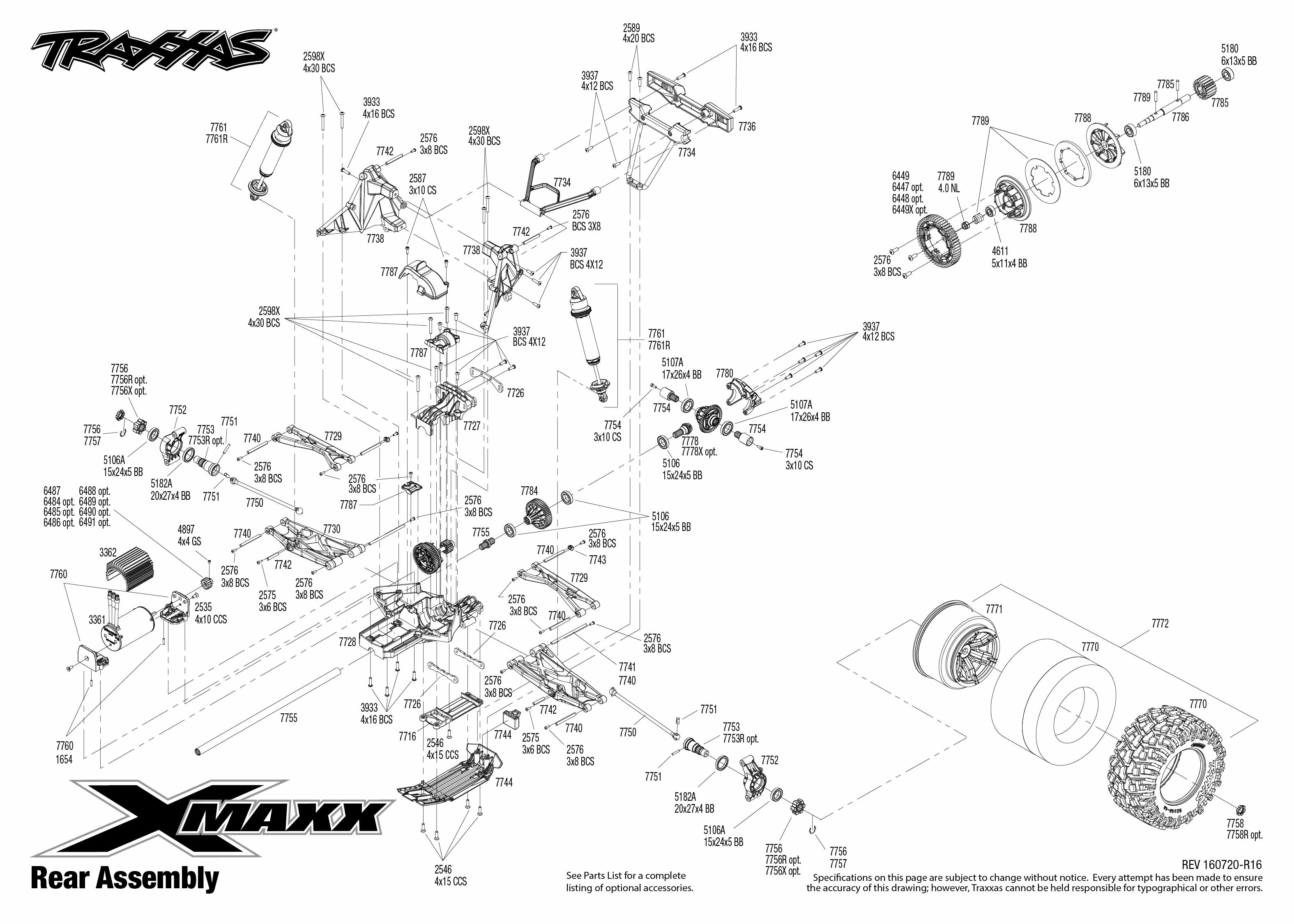 Exploded view: Traxxas X-Maxx 1:5 4WD TQi Brushless TSM