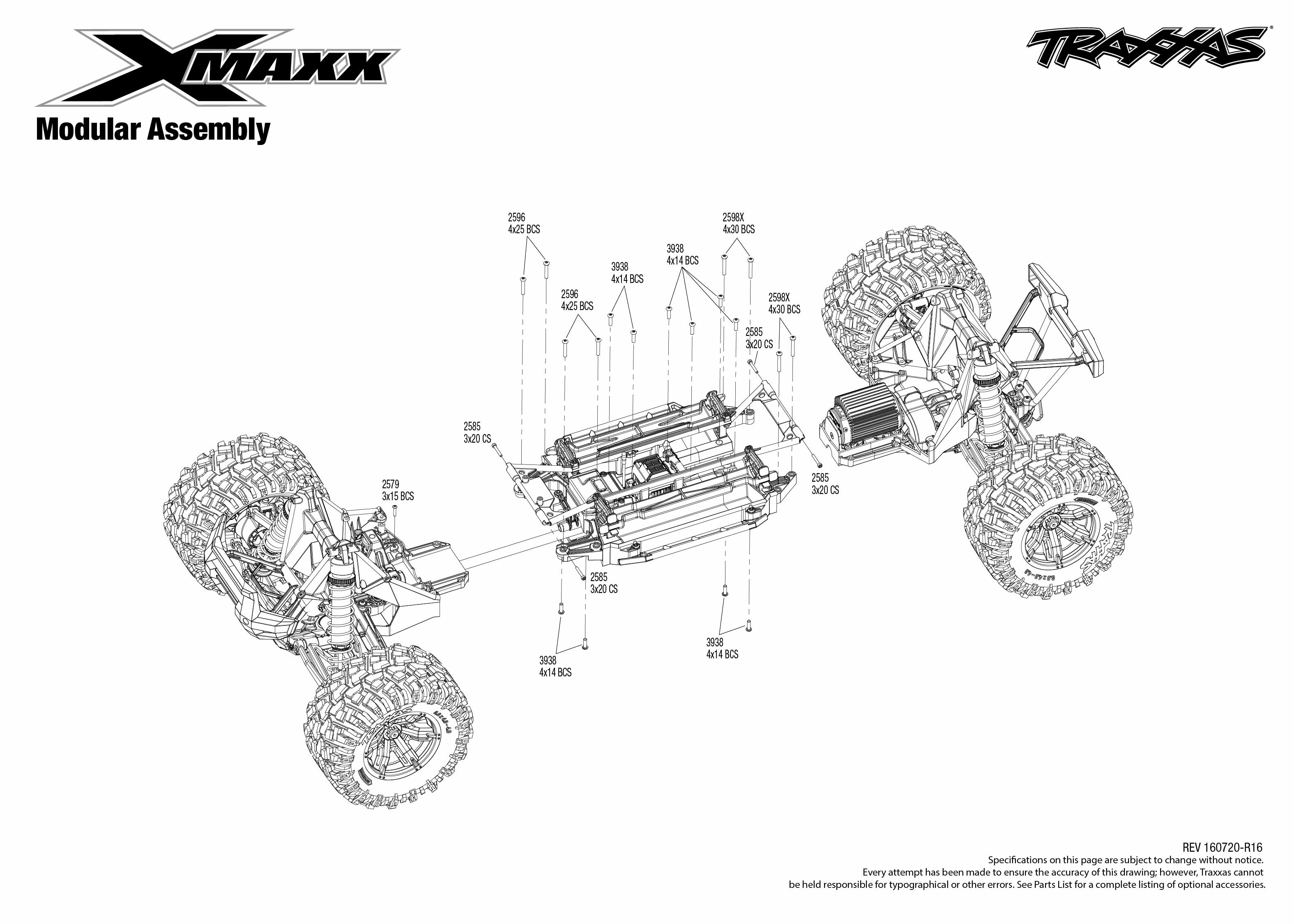 exploded view  traxxas x-maxx 1 5 4wd tqi brushless tsm rtr