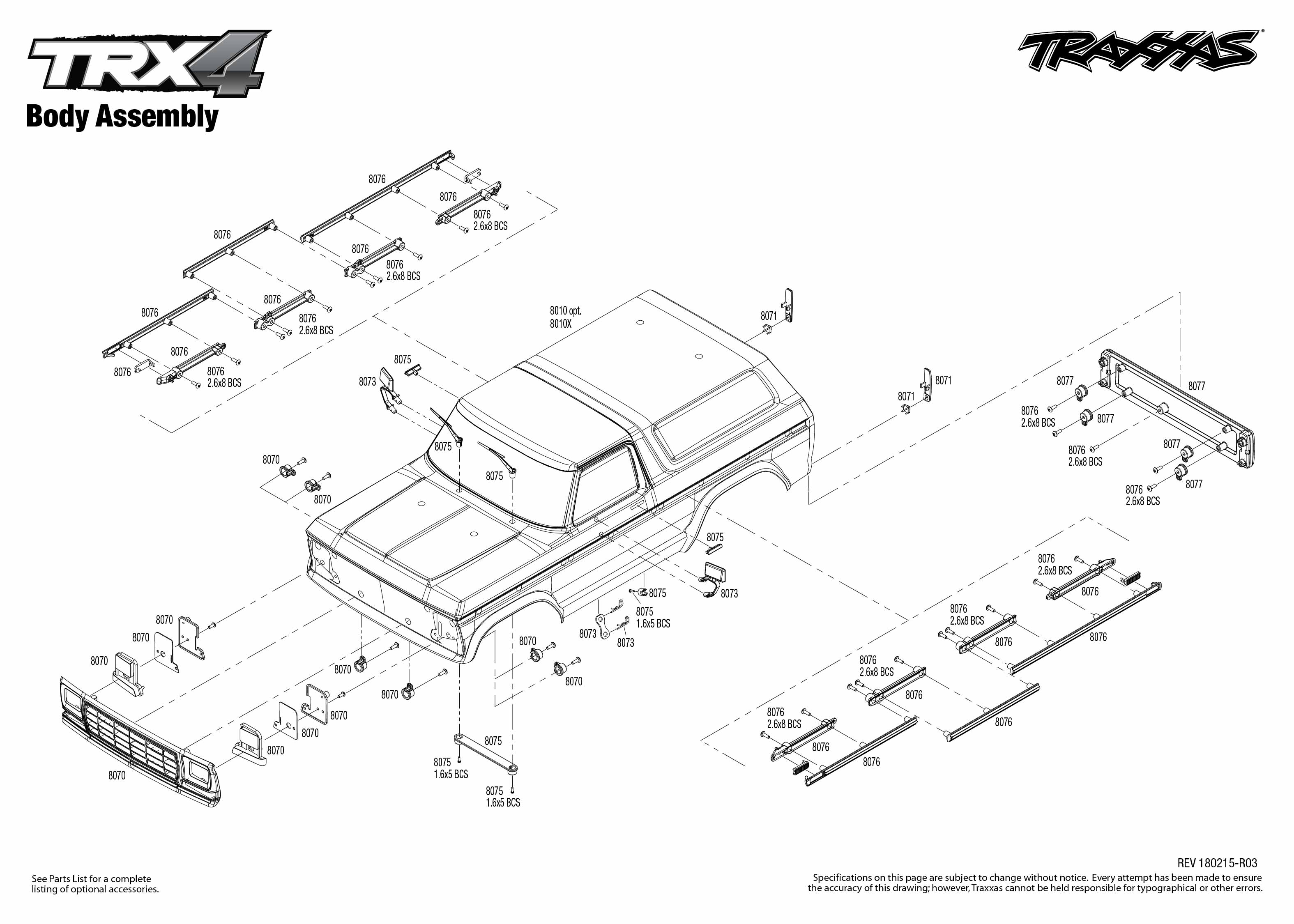 Exploded view: Traxxas TRX-4 Ford Bronco 1:10 TQi RTR - Body