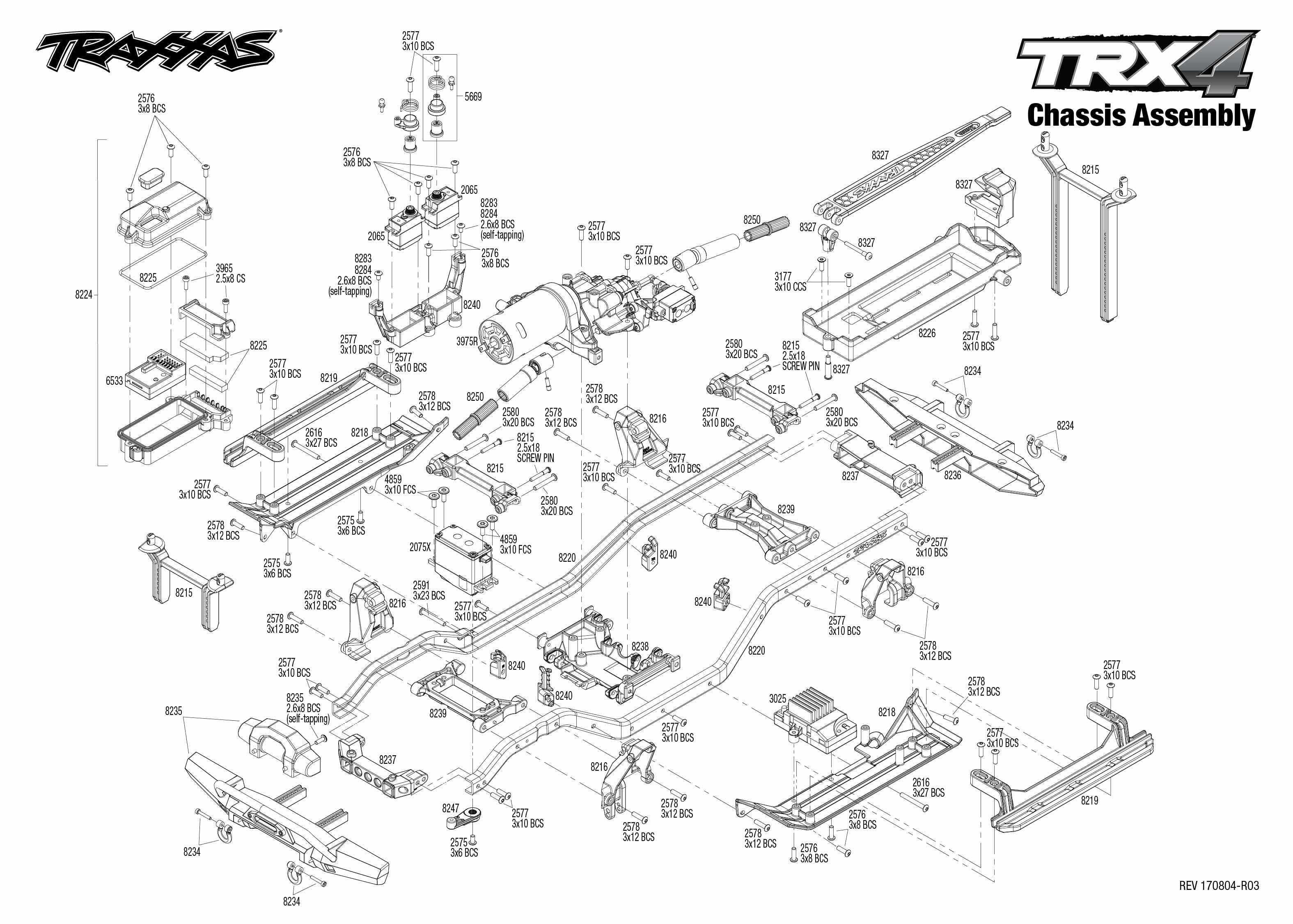 Exploded view: Traxxas TRX-4 Tactical Unit 1:10 TQi RTR