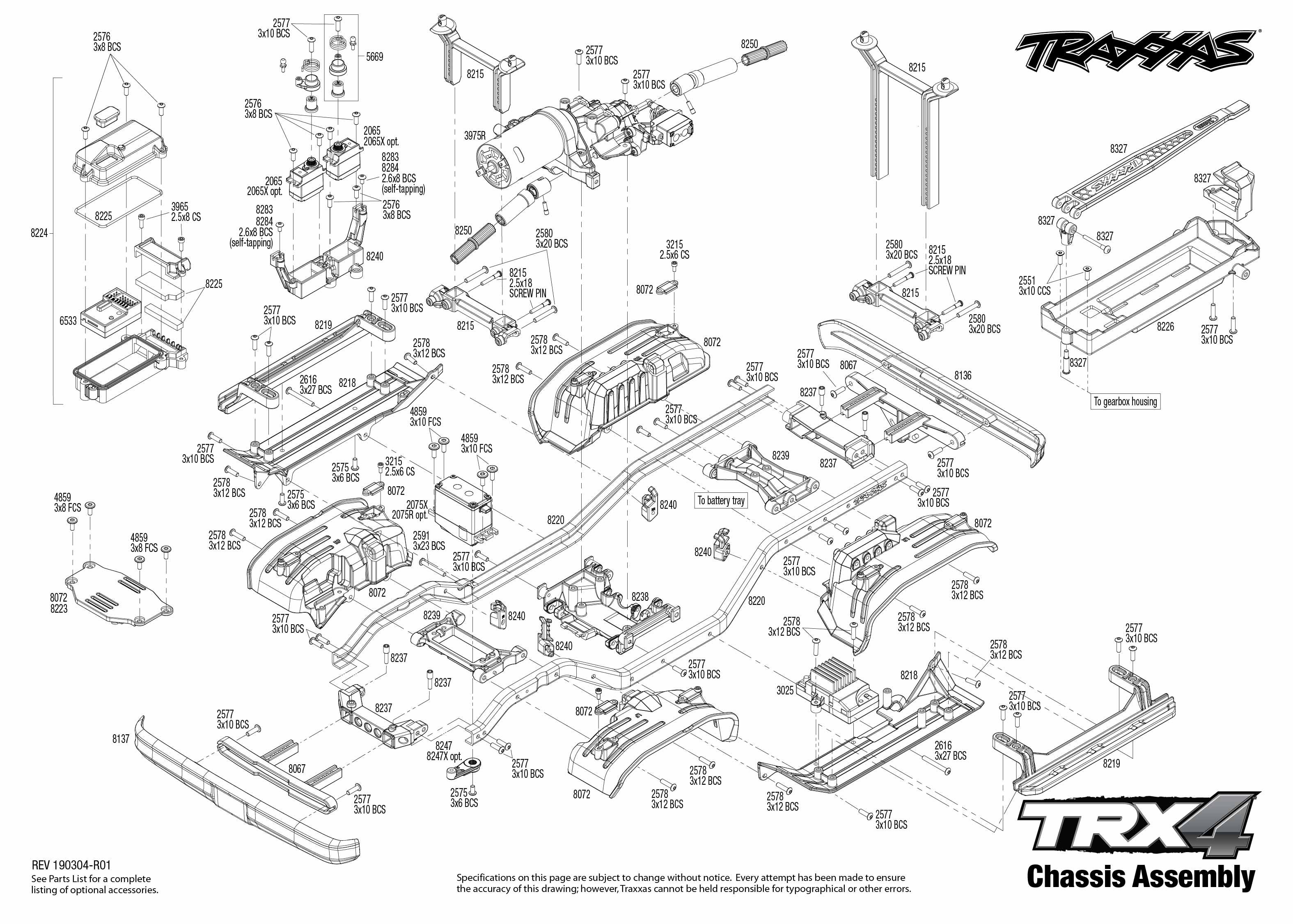 Exploded view: TRX-4 Chevrolet K5 Blazer 1:10 RTR