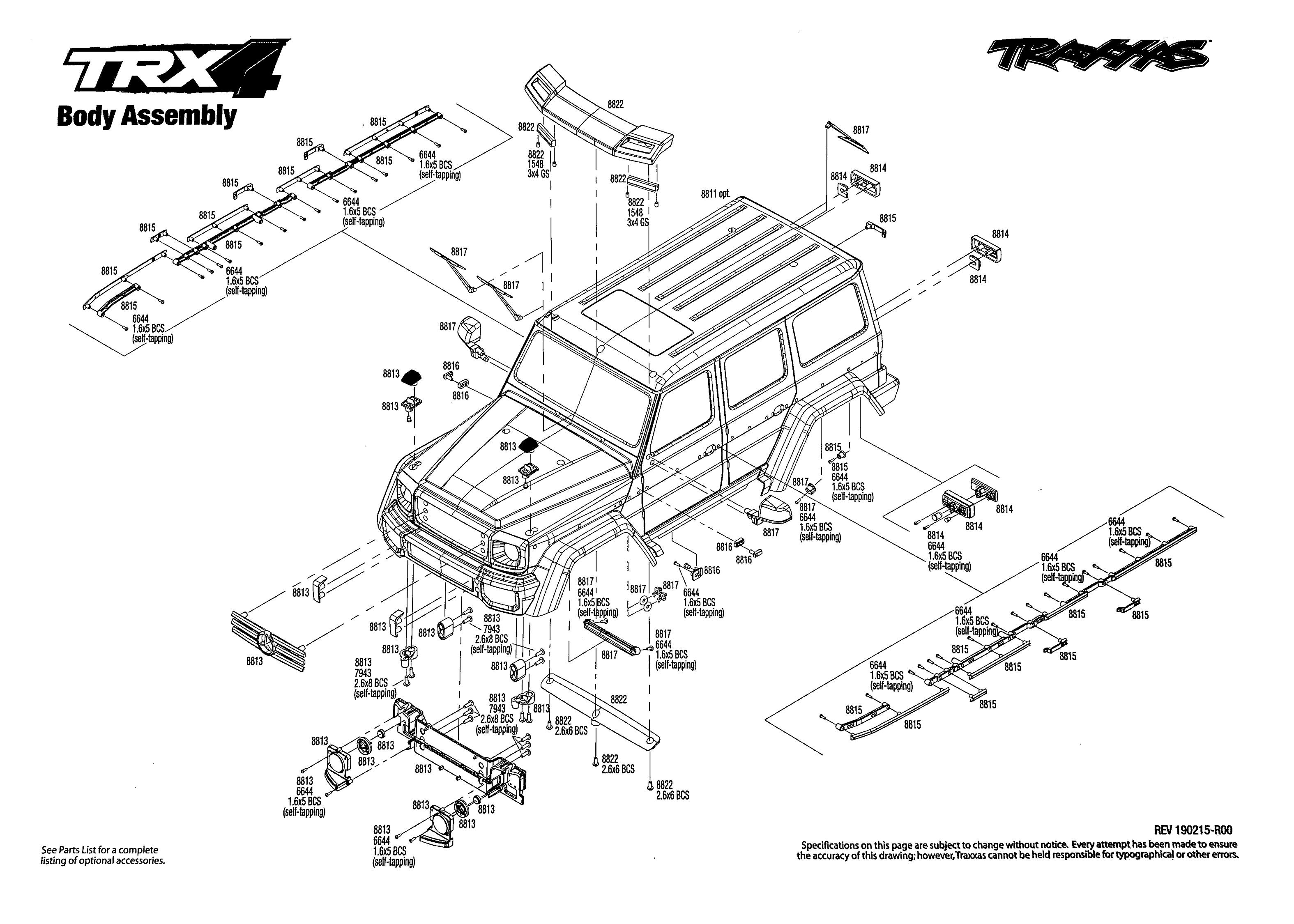 Exploded view: Traxxas TRX-4 Mercedes G500 1:10 TQi RTR
