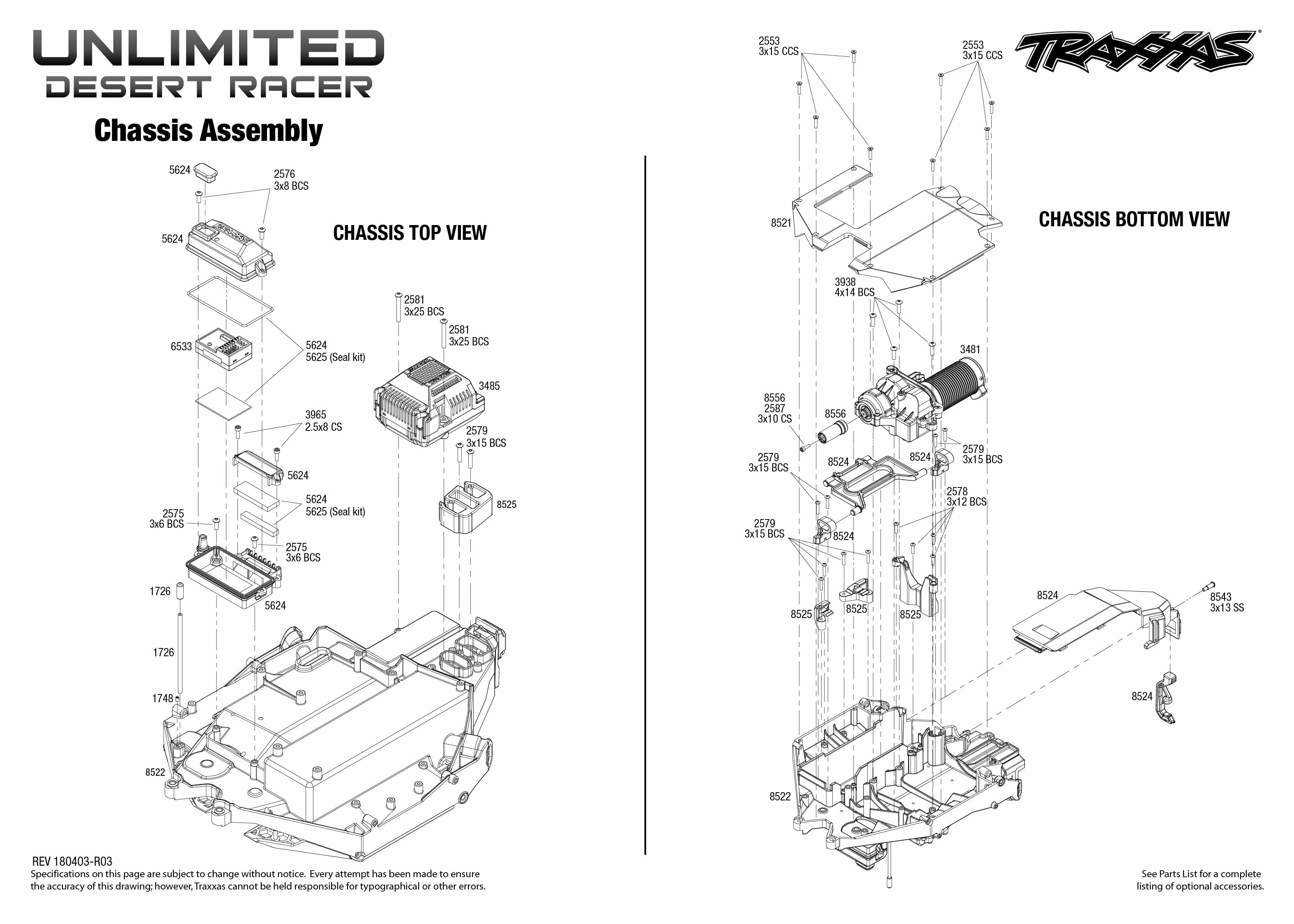 Exploded view: Traxxas Unlimited Desert Racer 1:8 TSM RTR