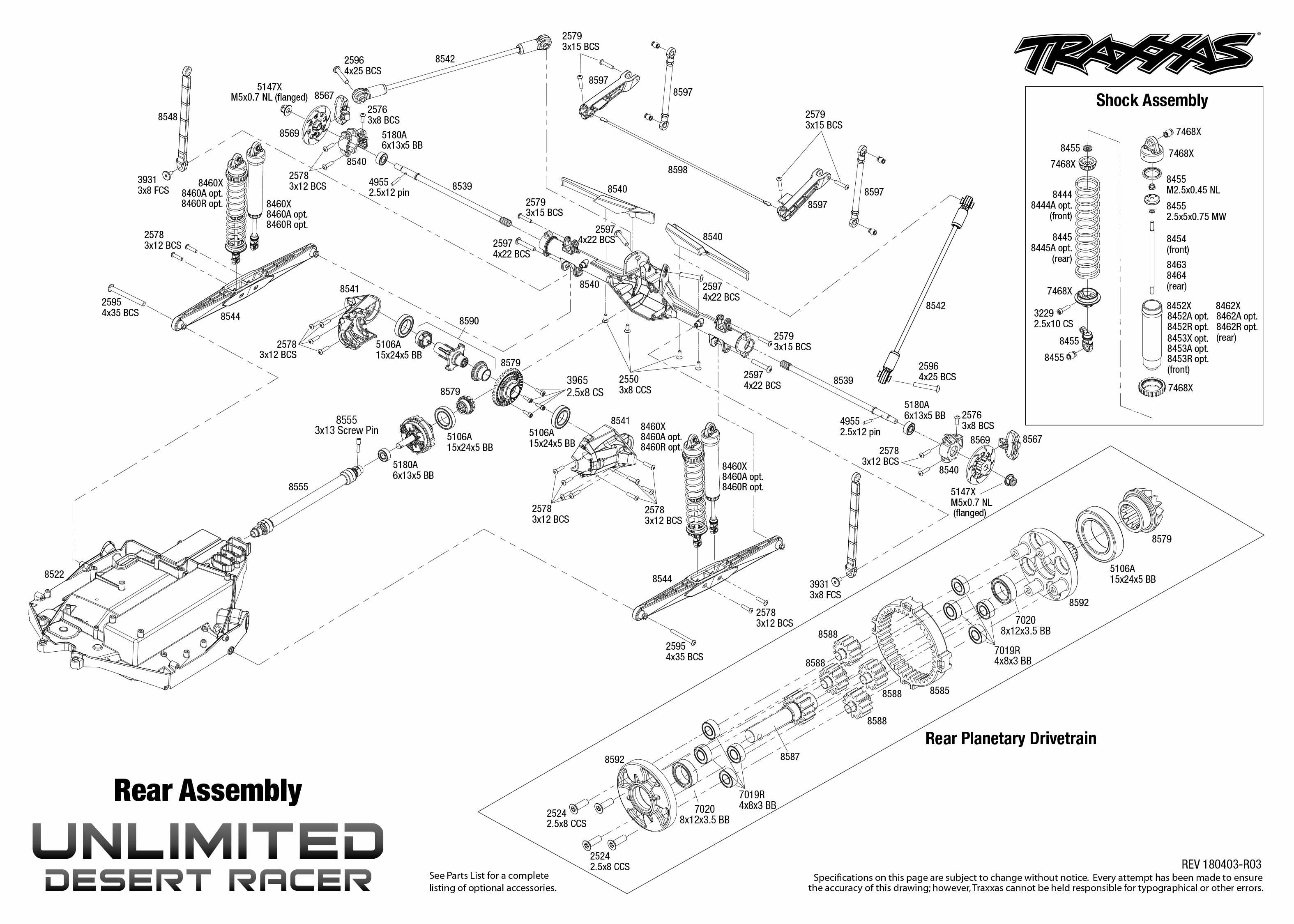 Exploded view: Traxxas Unlimited Desert Racer 1:8 TSM RTR
