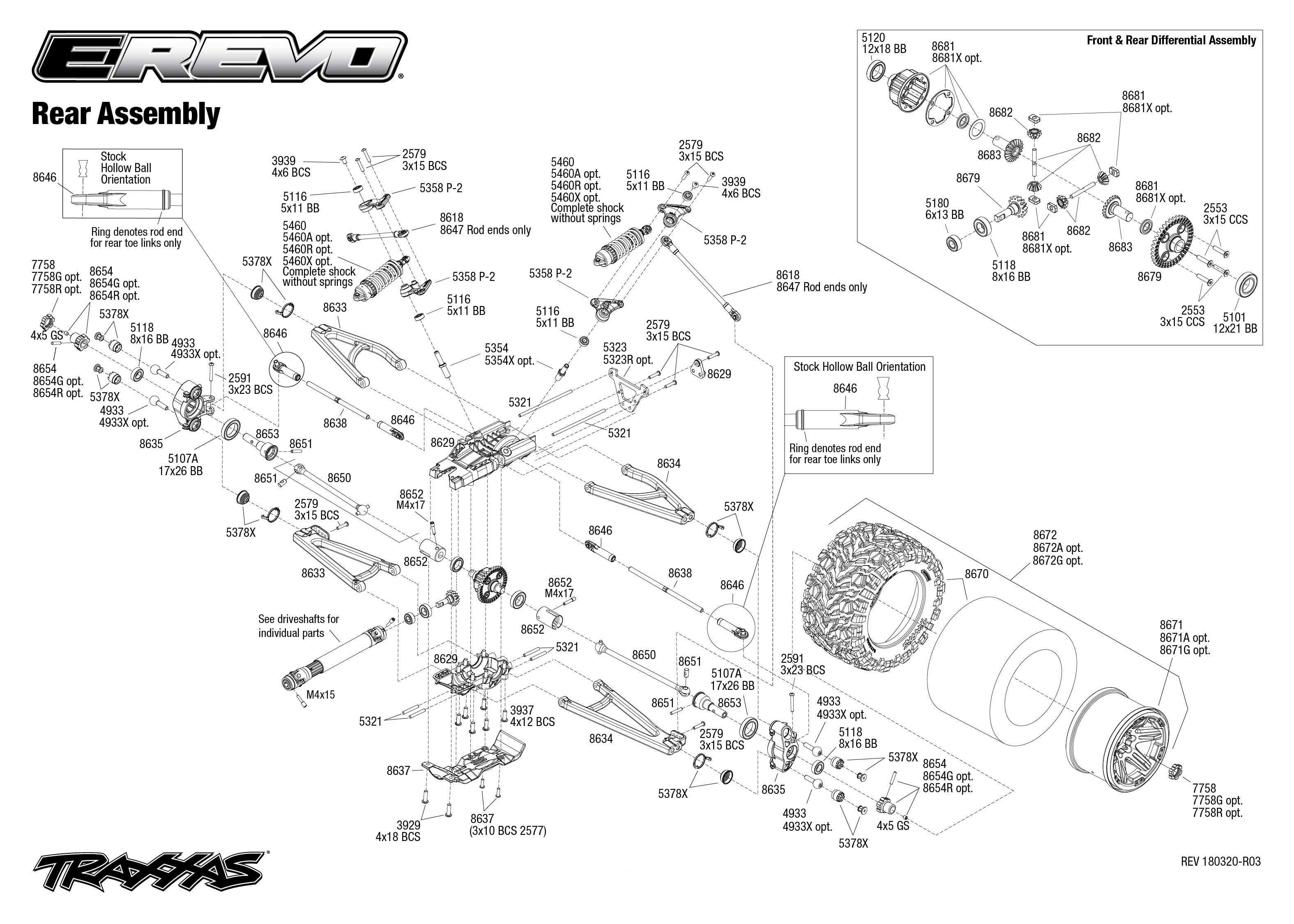 exploded view traxxas e revo 2 1 8 brushless tqi tsm rtr. Black Bedroom Furniture Sets. Home Design Ideas