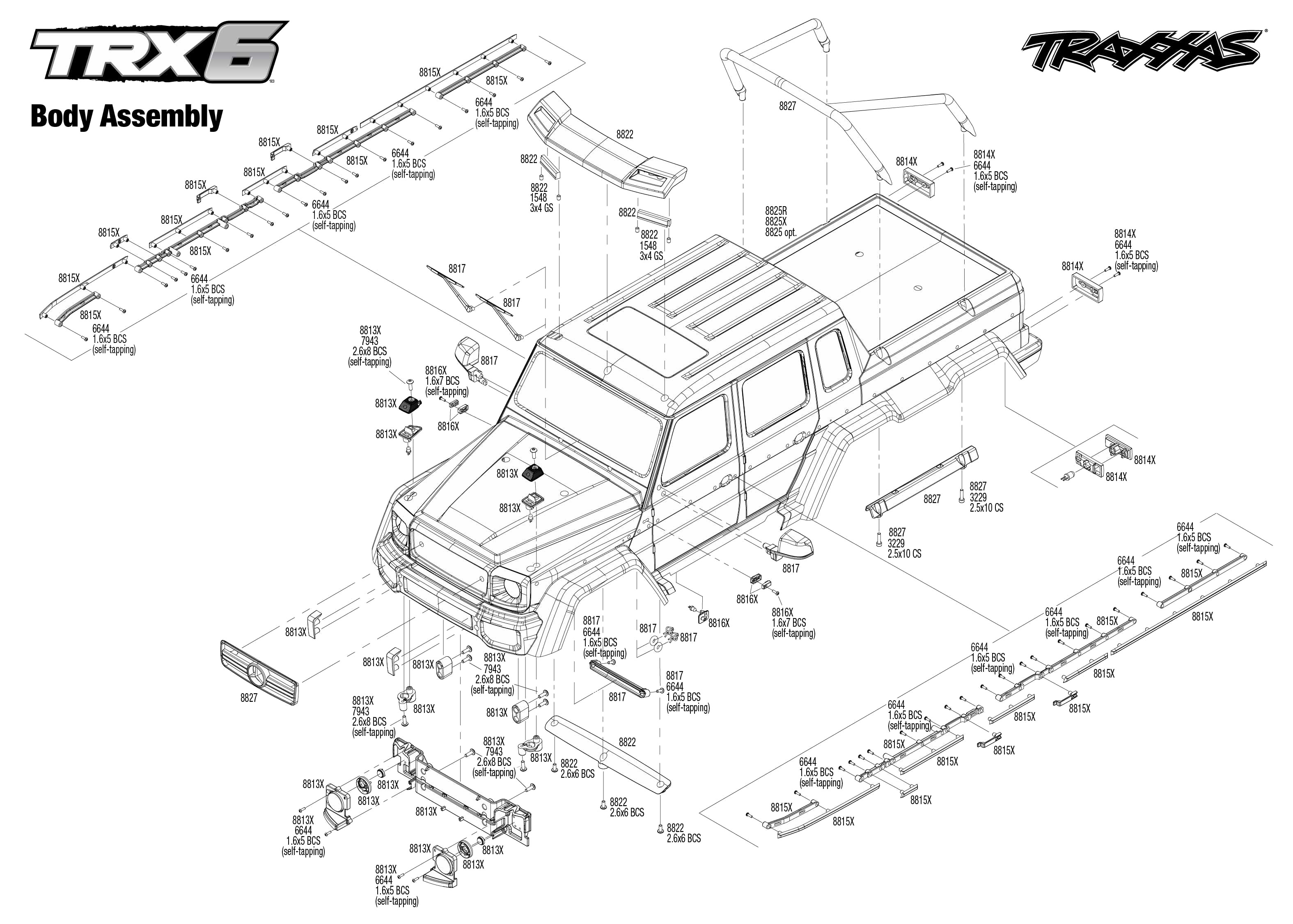 Exploded view: Traxxas TRX-6 Mercedes G 63 6x6 1:10 TQi