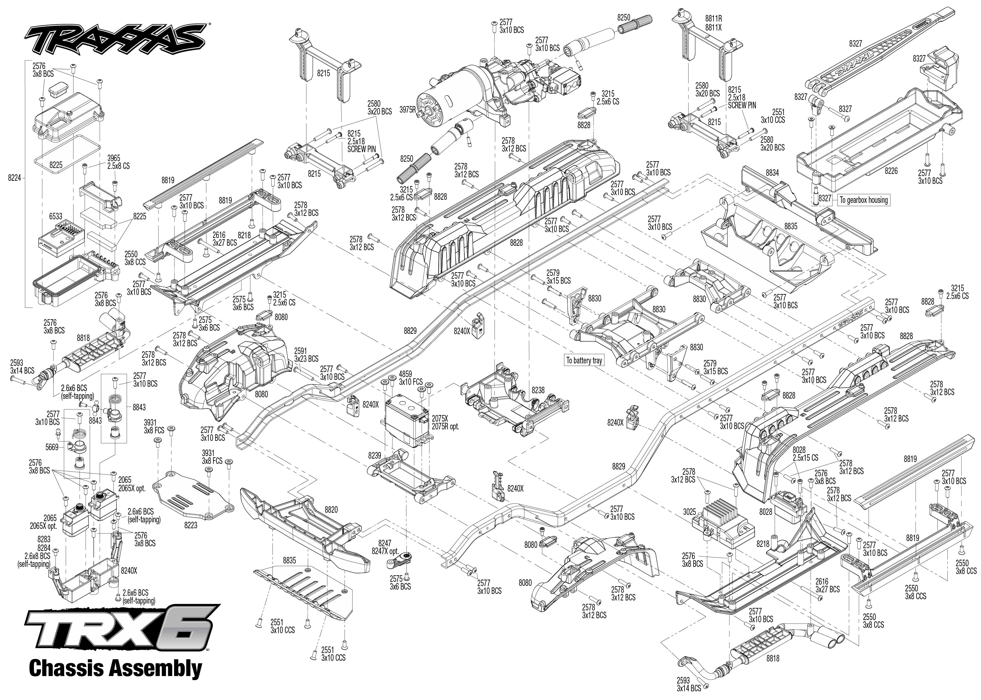 Exploded view: Traxxas TRX-6 Mercedes G 63 6x6 1:10 TQi
