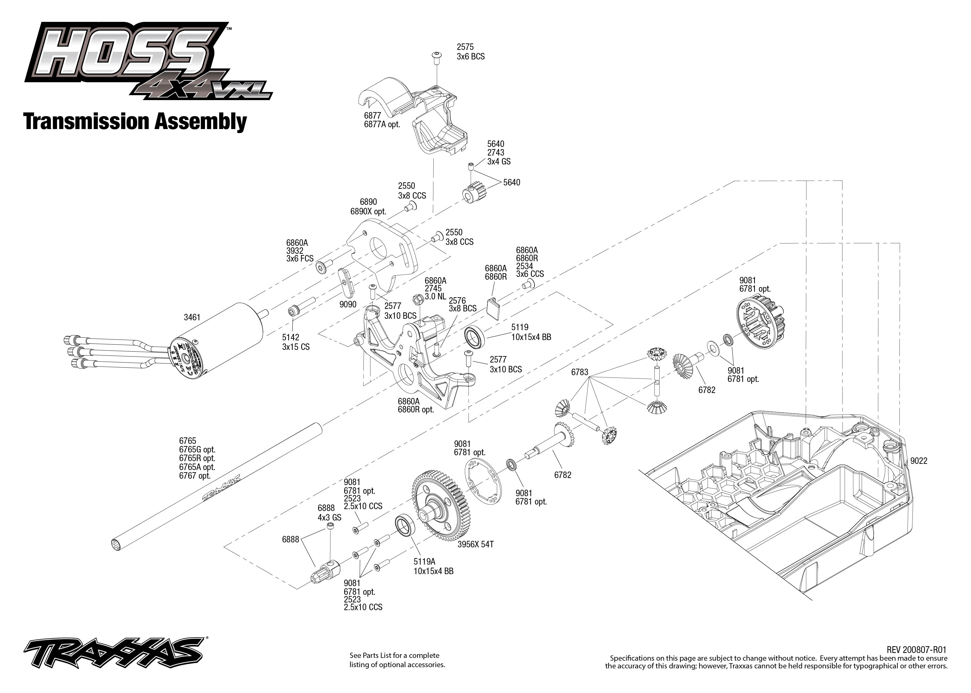 Exploded view: Traxxas Hoss 1:10 VXL 4WD TQi RTR