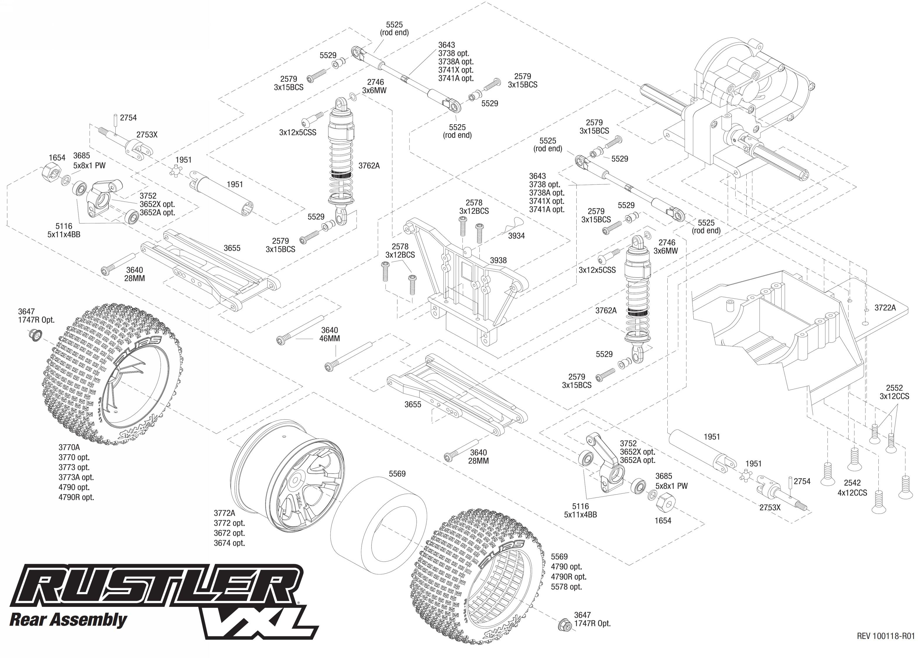 Traxxas Rustler Exploded View Rear 1 10 Scale 2wd Nitro Stadium Truck 44094 Vxl Part Astra Rh Astramodel Cz 4x4