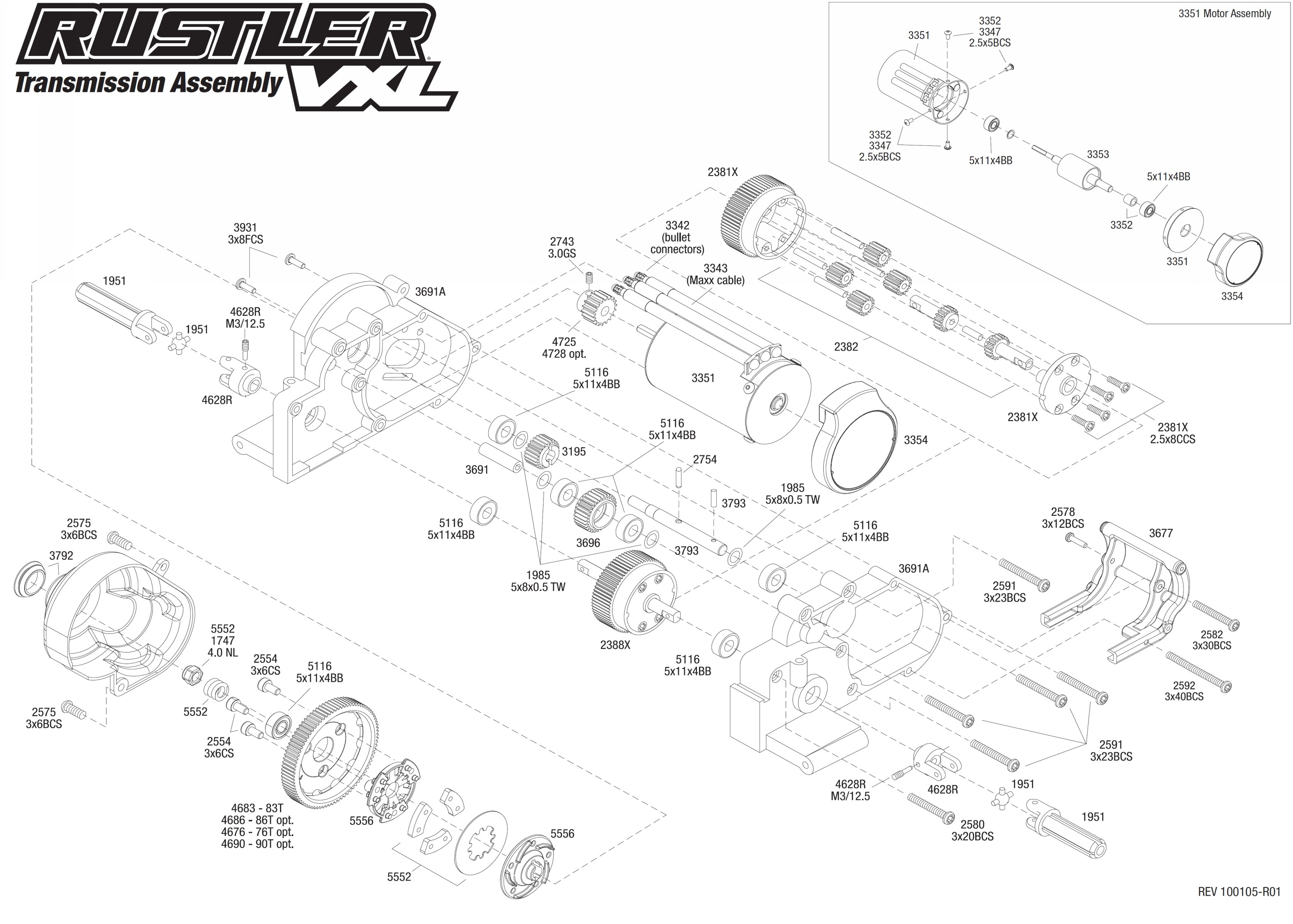 Traxxas Rustler User Manual Wiring Diagram Master Blogs 4510 Nitro Sport Explodedviews Chassis 0 Pdf Exploded View Vxl 1 10 Transmission Astra Rh Astramodel Cz Parts