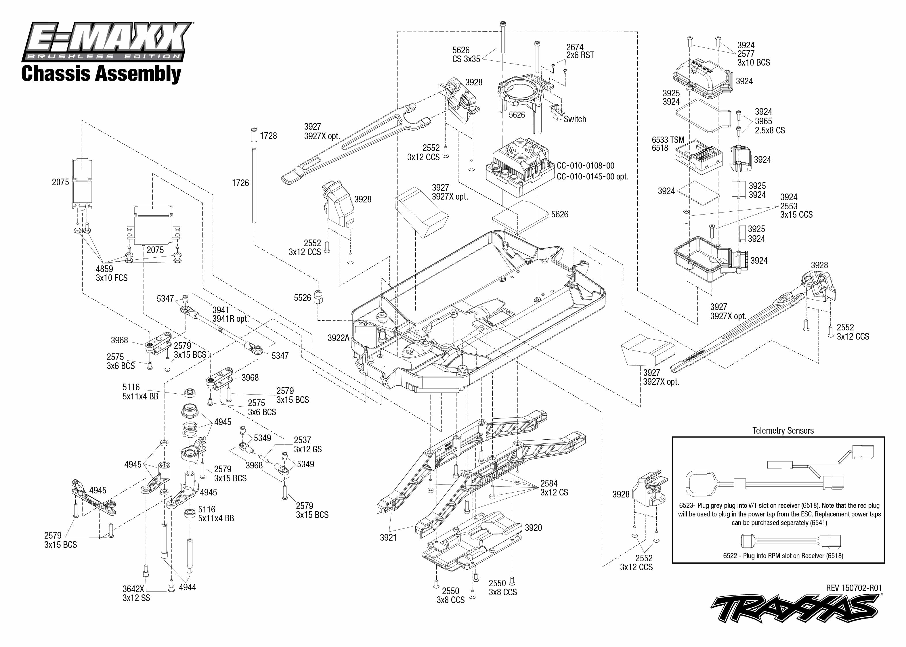 exploded view  traxxas e-maxx 1 10 brushless