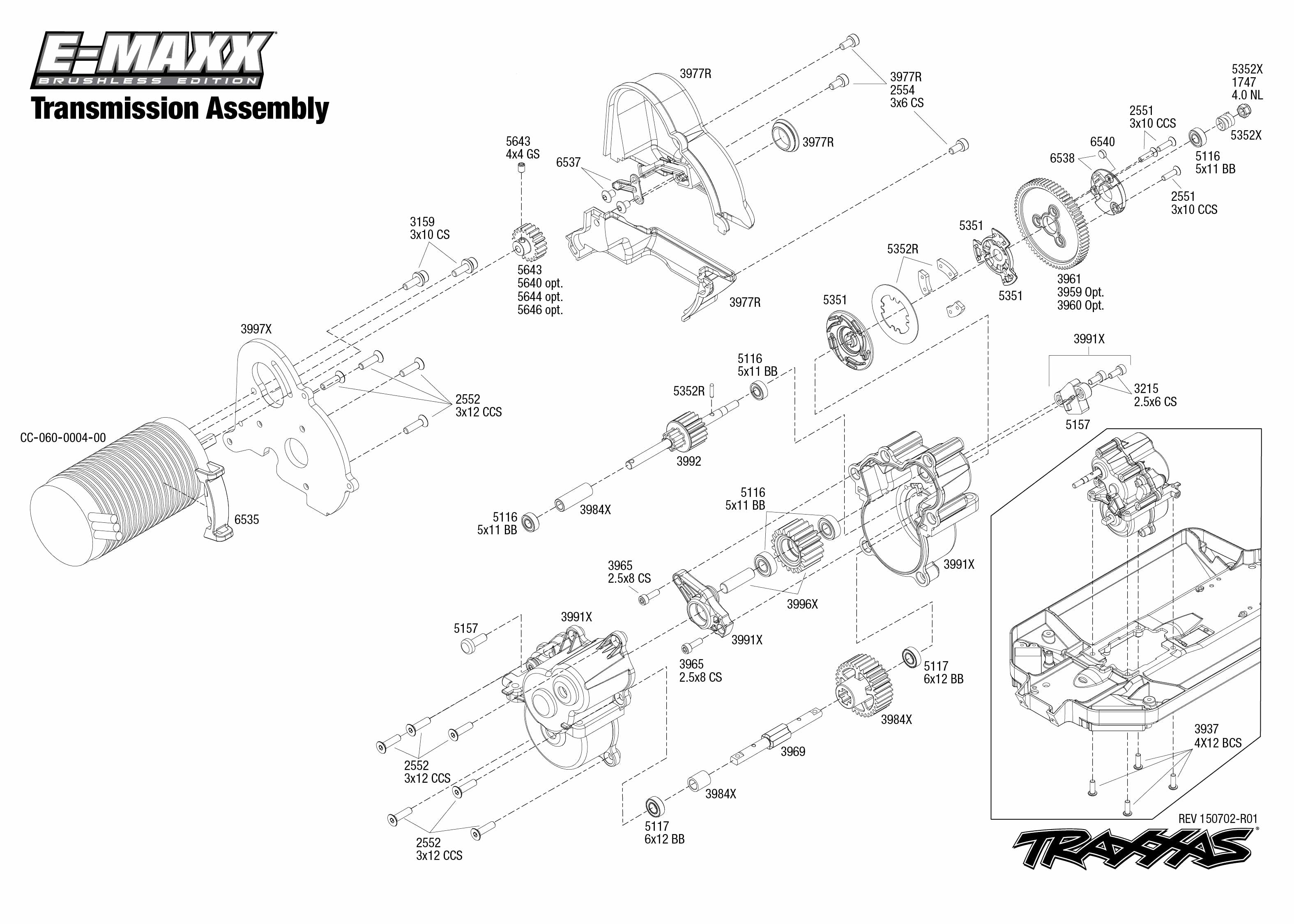 Exploded view: Traxxas E-Maxx 1:10 Brushless