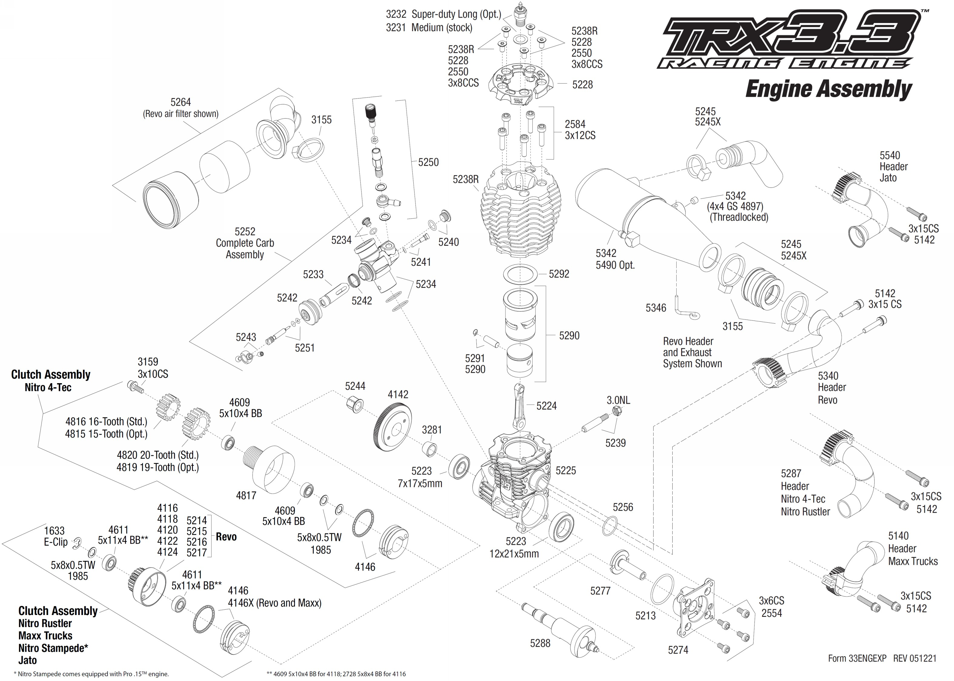 exploded view  traxxas engine trx 3 3