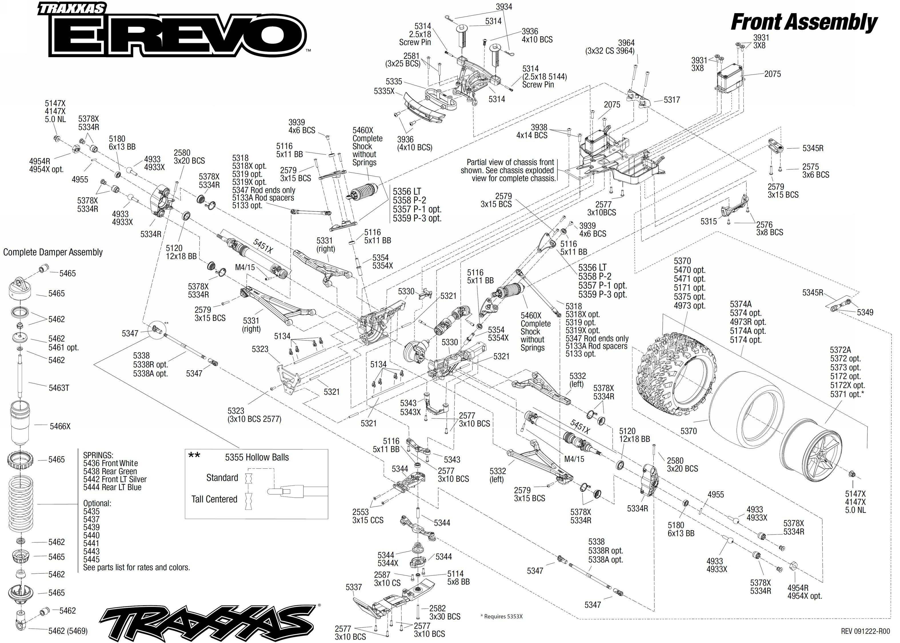 exploded view  traxxas e-revo 1 10