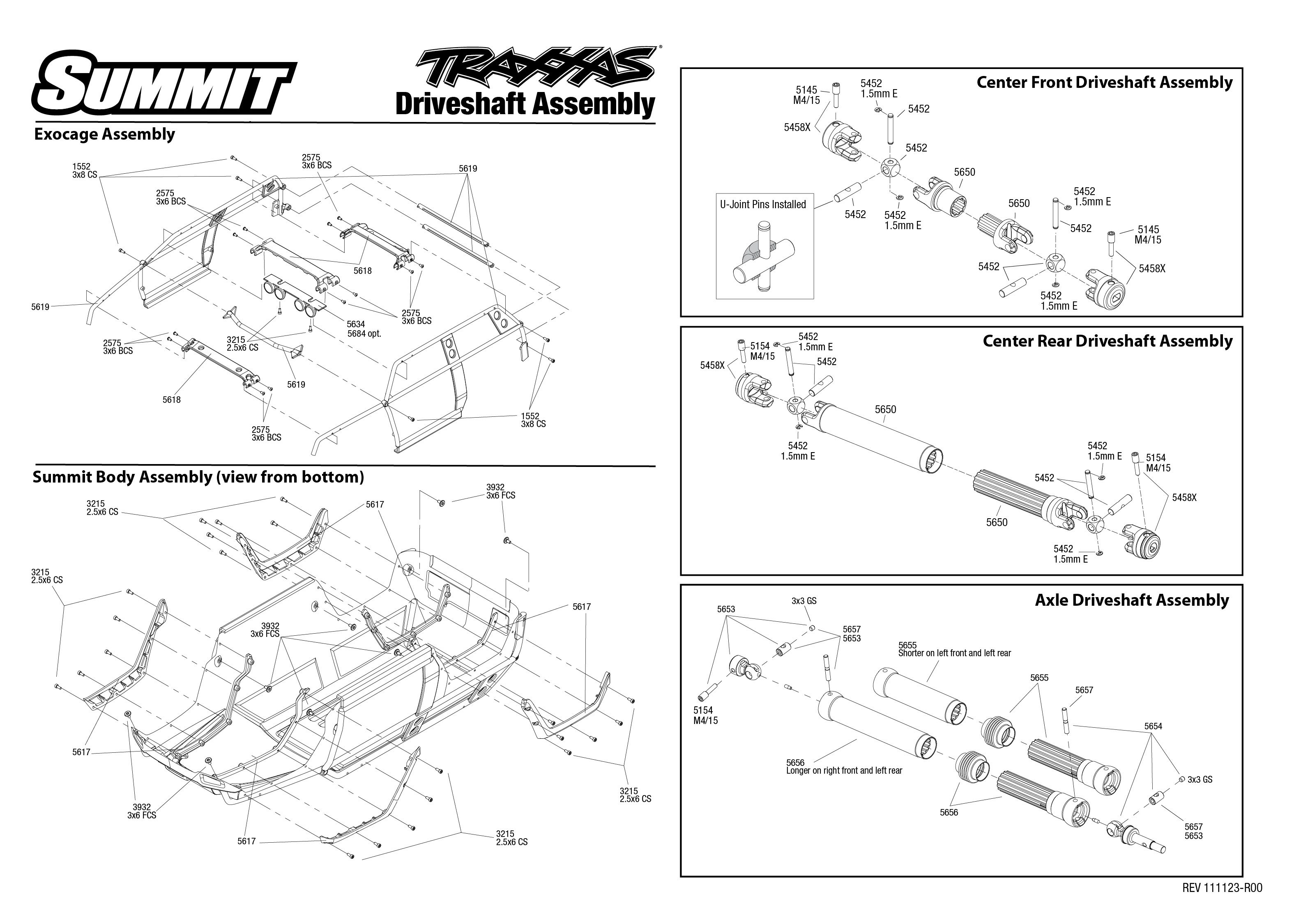 Exploded view: Traxxas Summit 1:10 - Driveshaft | Astra