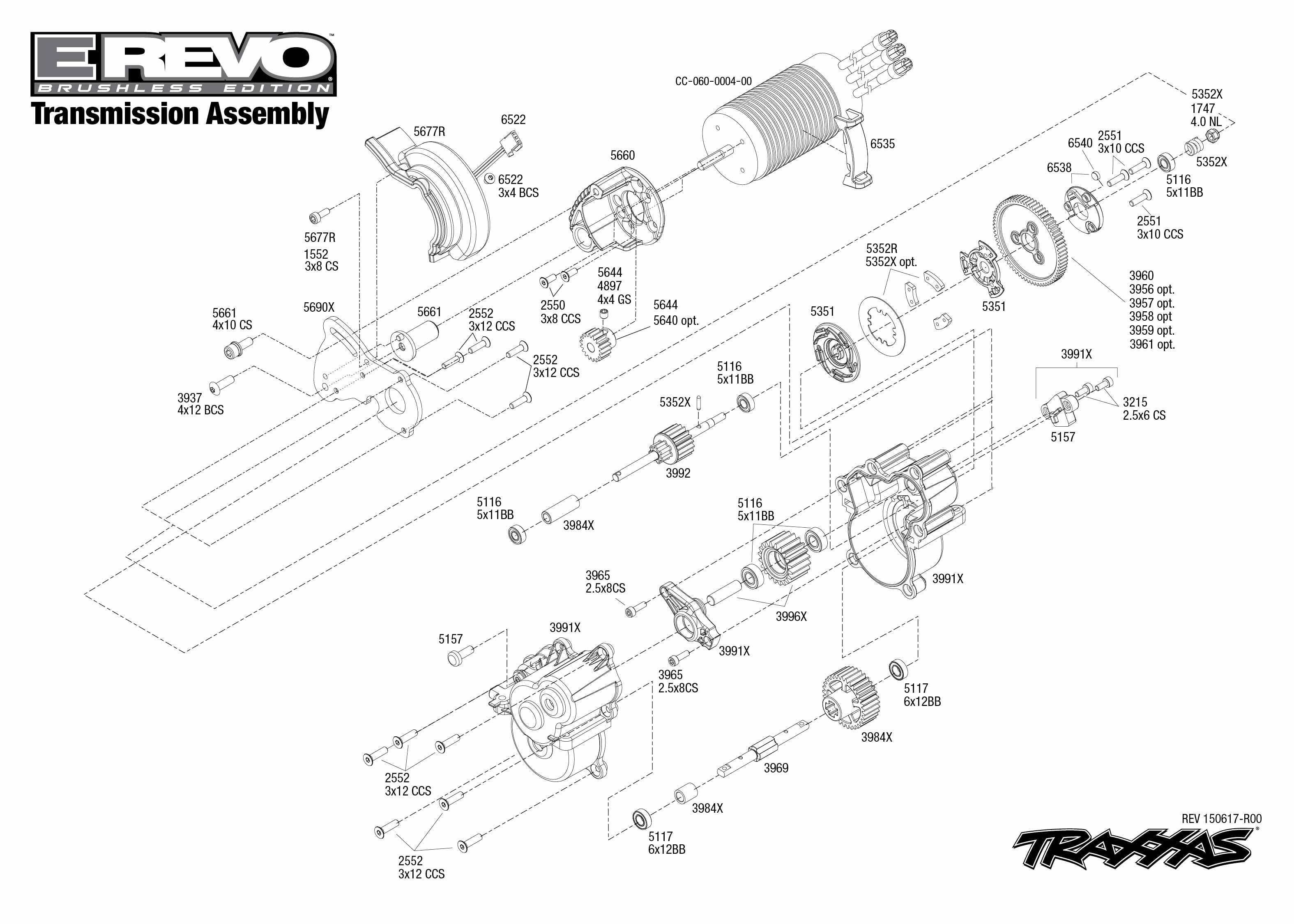 Exploded view: Traxxas E-Revo 1:10 Brushless