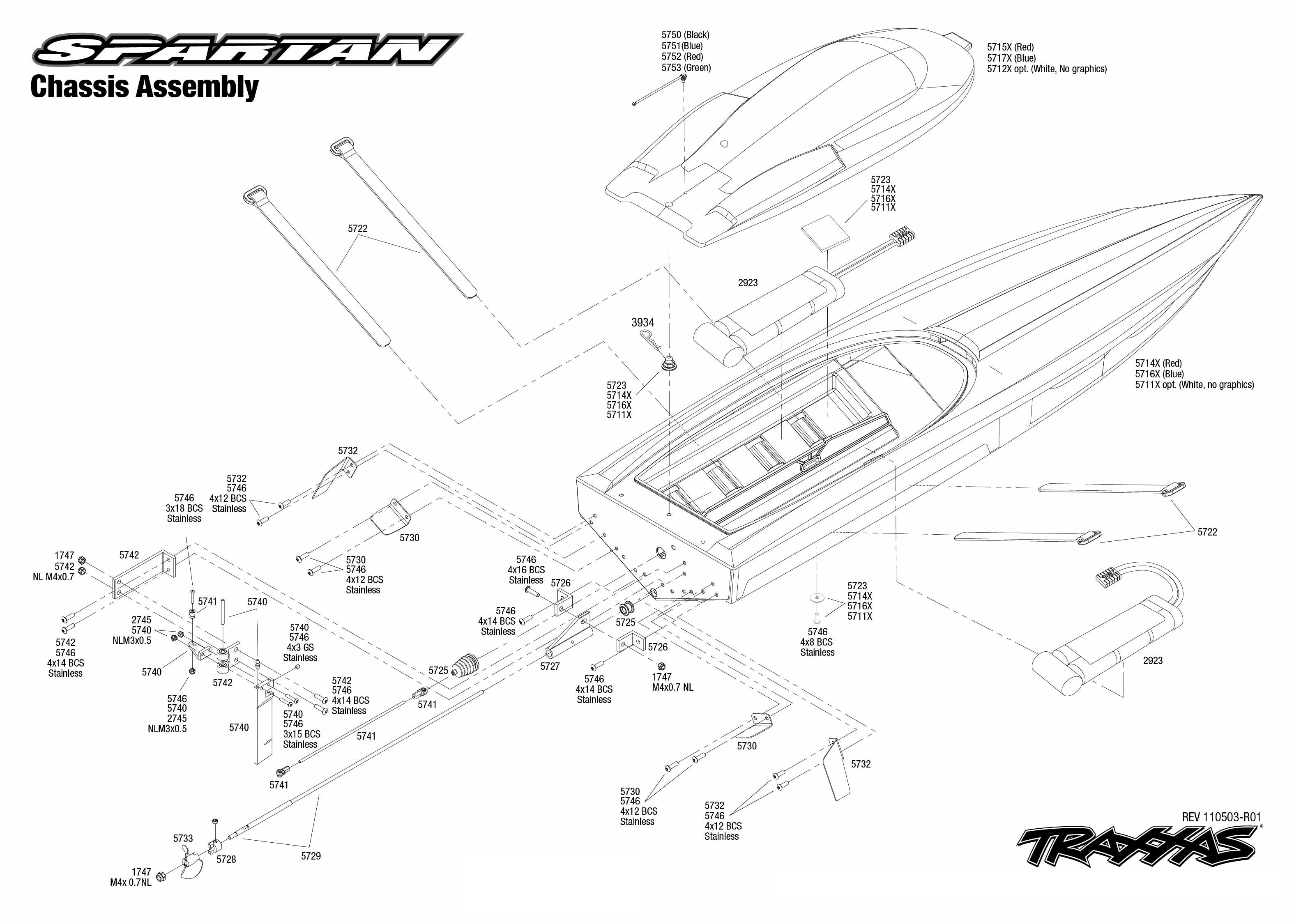 Exploded view: Traxxas Spartan Brushless - Chassis | Astra