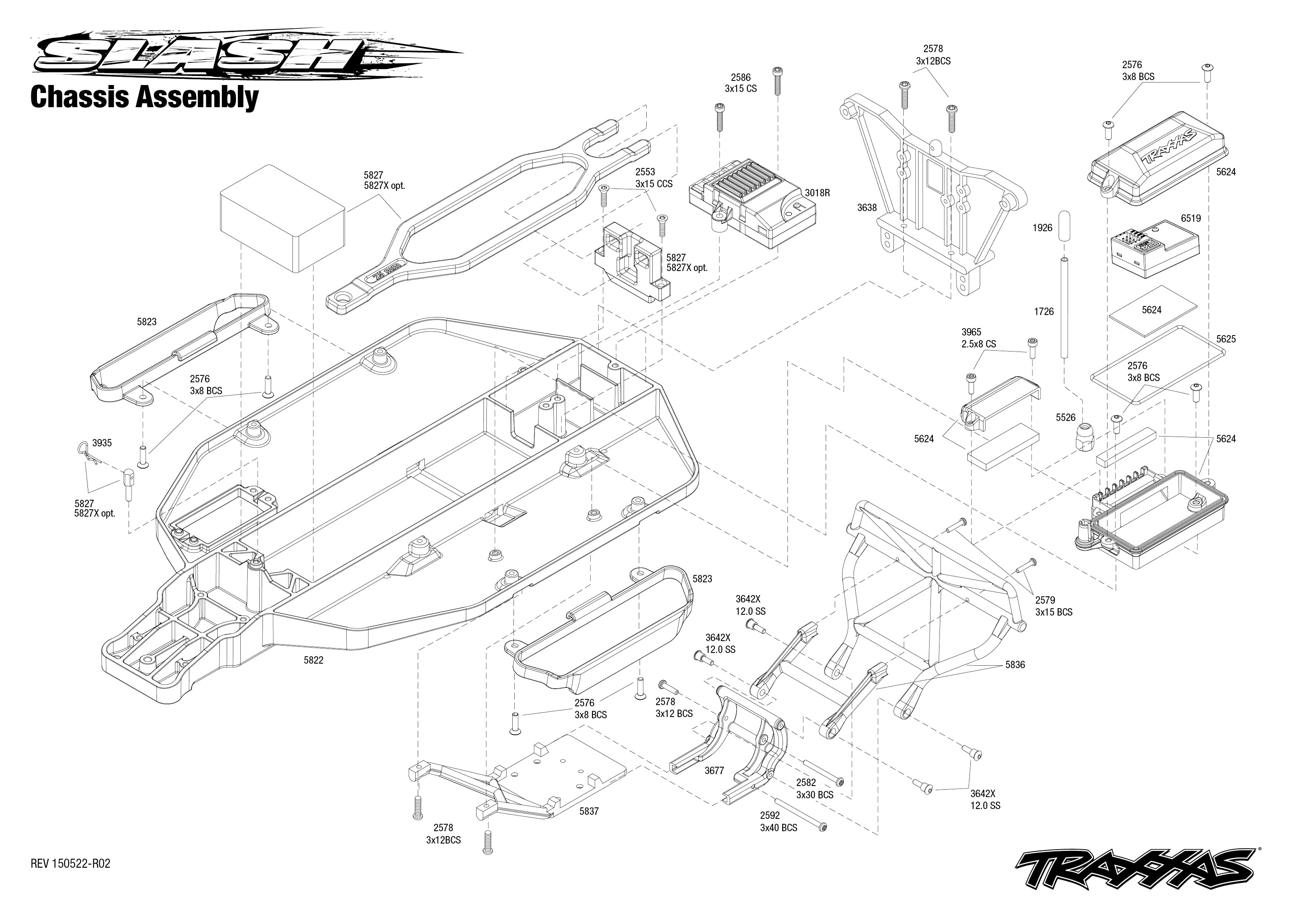 Exploded view Traxxas Slash 2WD 1 10 Chassis