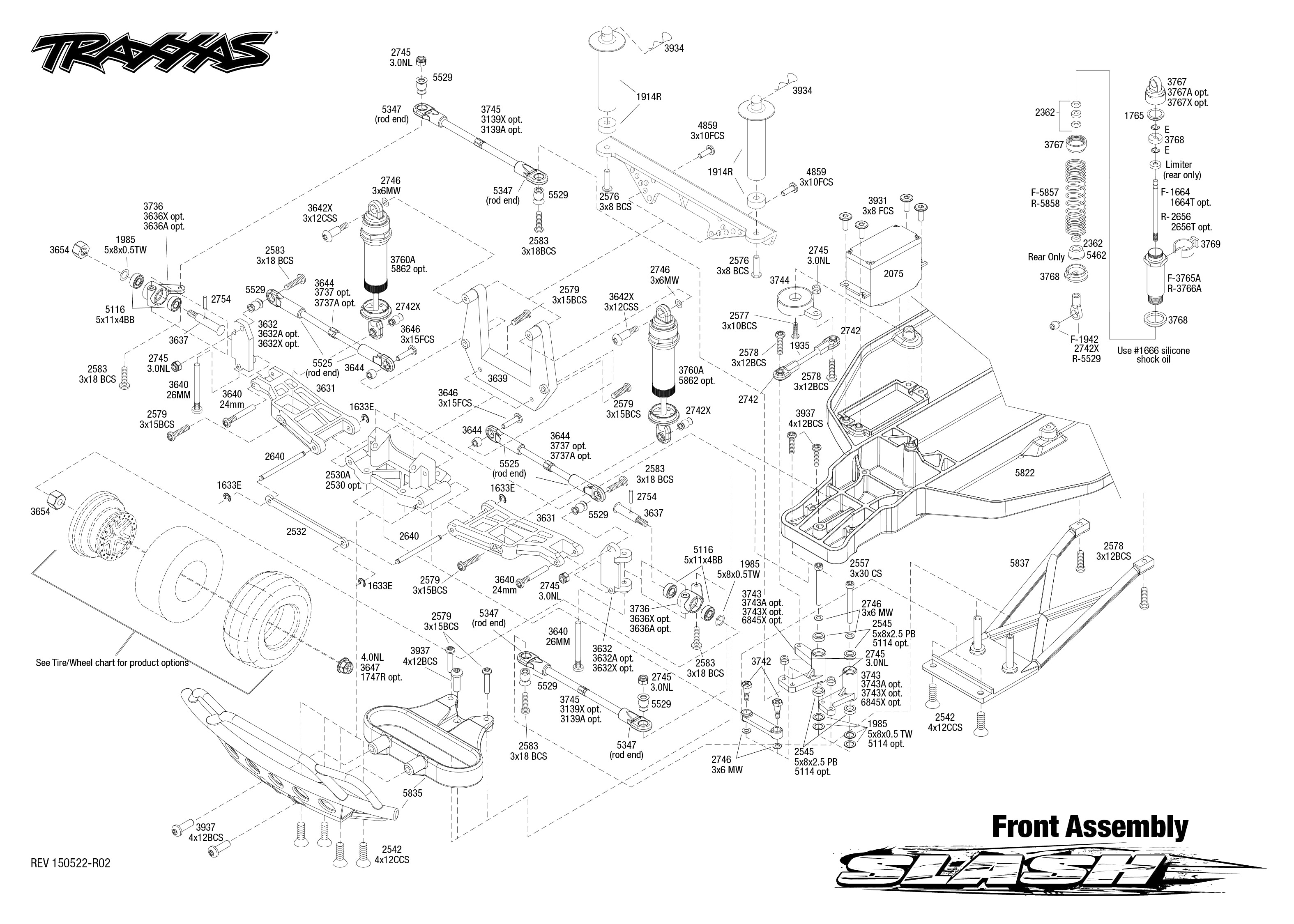Exploded view Traxxas Slash 2WD 1 10 Front part