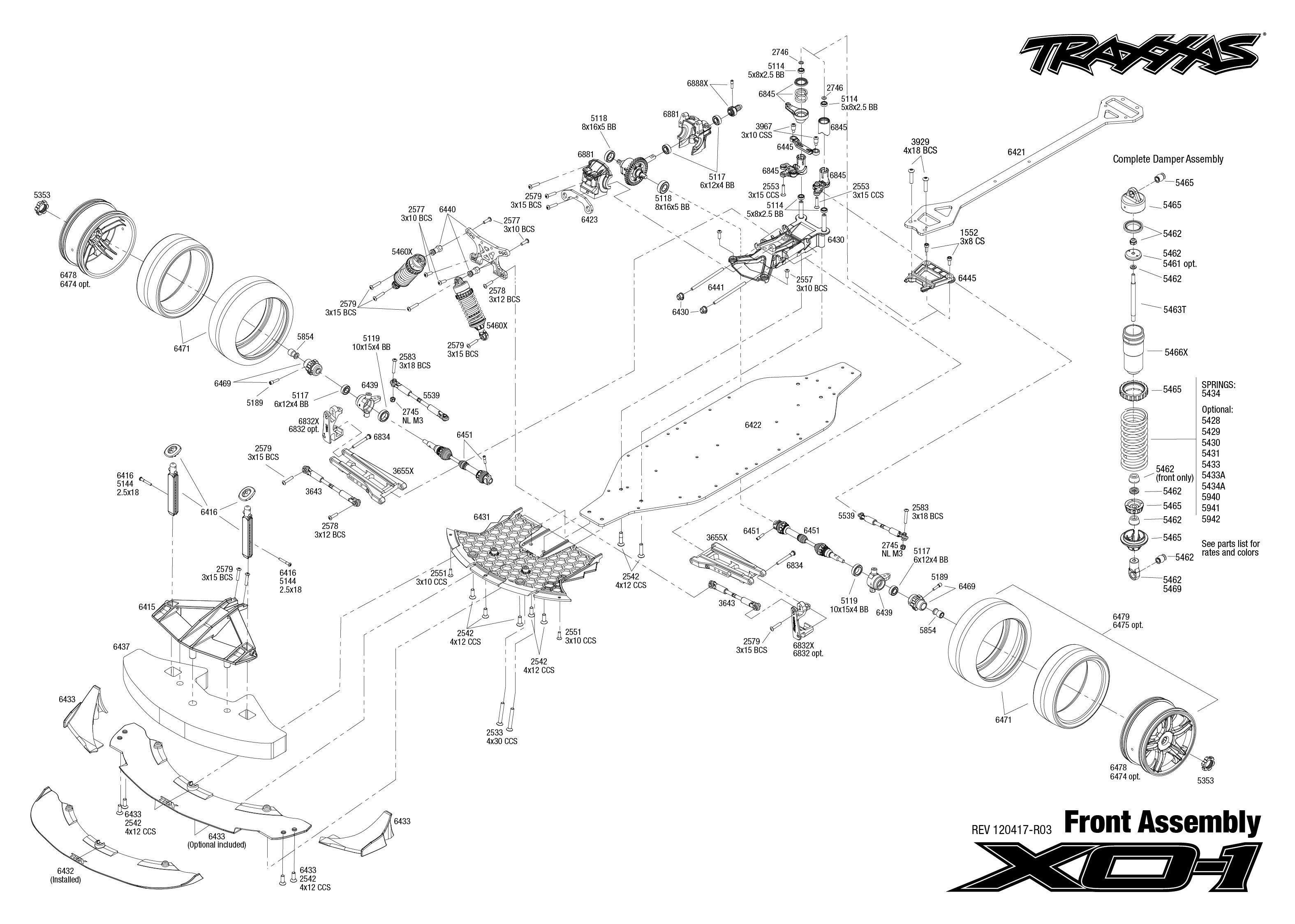 Exploded View Traxxas Xo 1 1 7 Brushless Front Part Astra